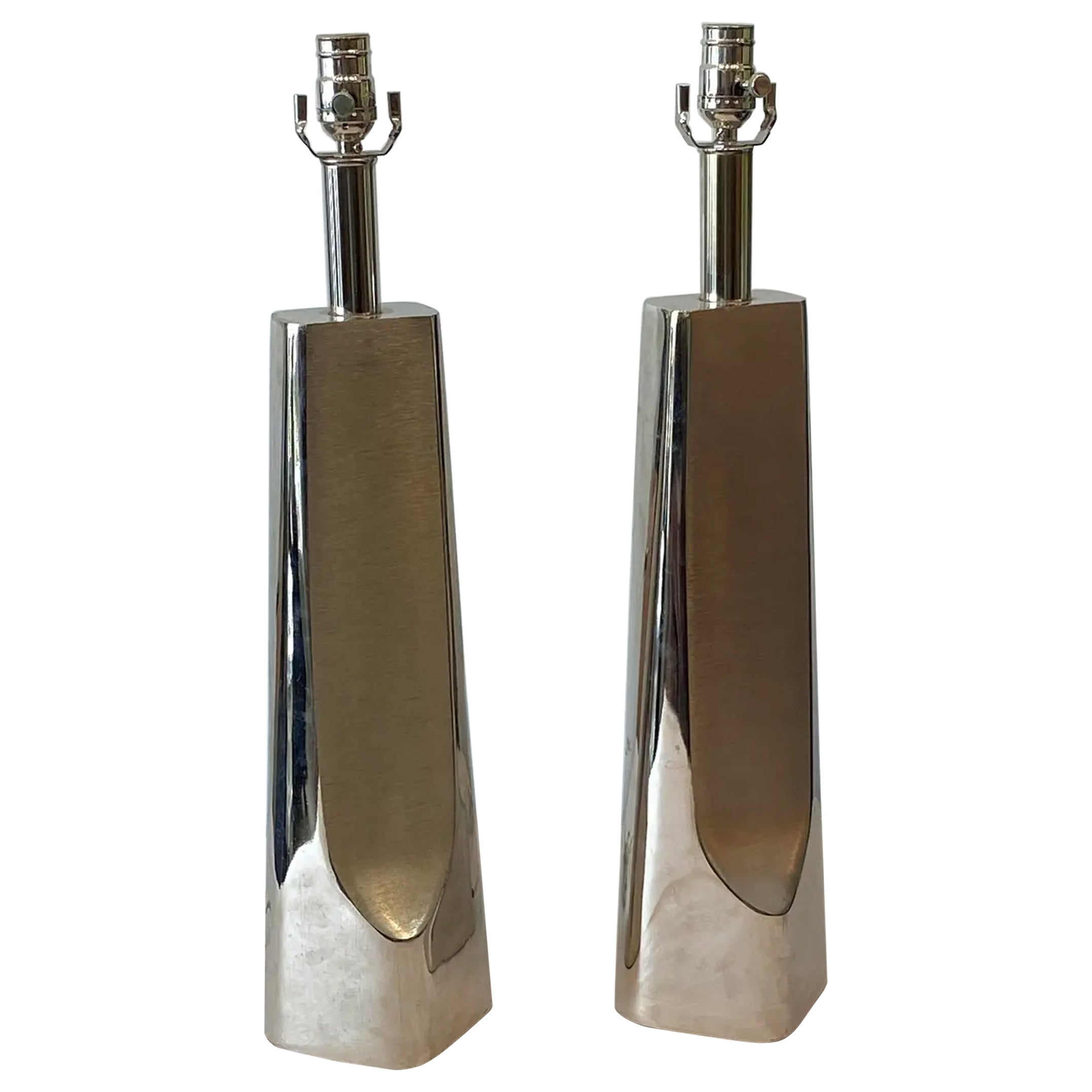 Pair of Cast Aluminum Modern Lamps by Laurel Lamp Co