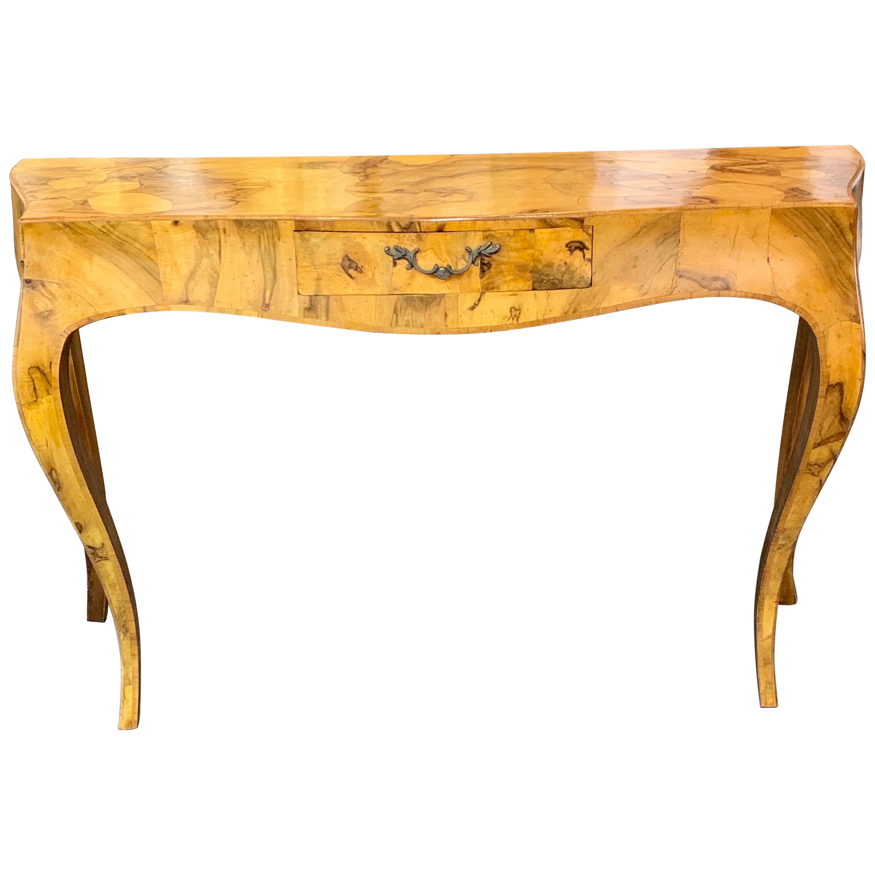 Early 20th Century Italian Burl Walnut Console