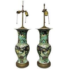 Pair of Chinese Famille Nior Lamps