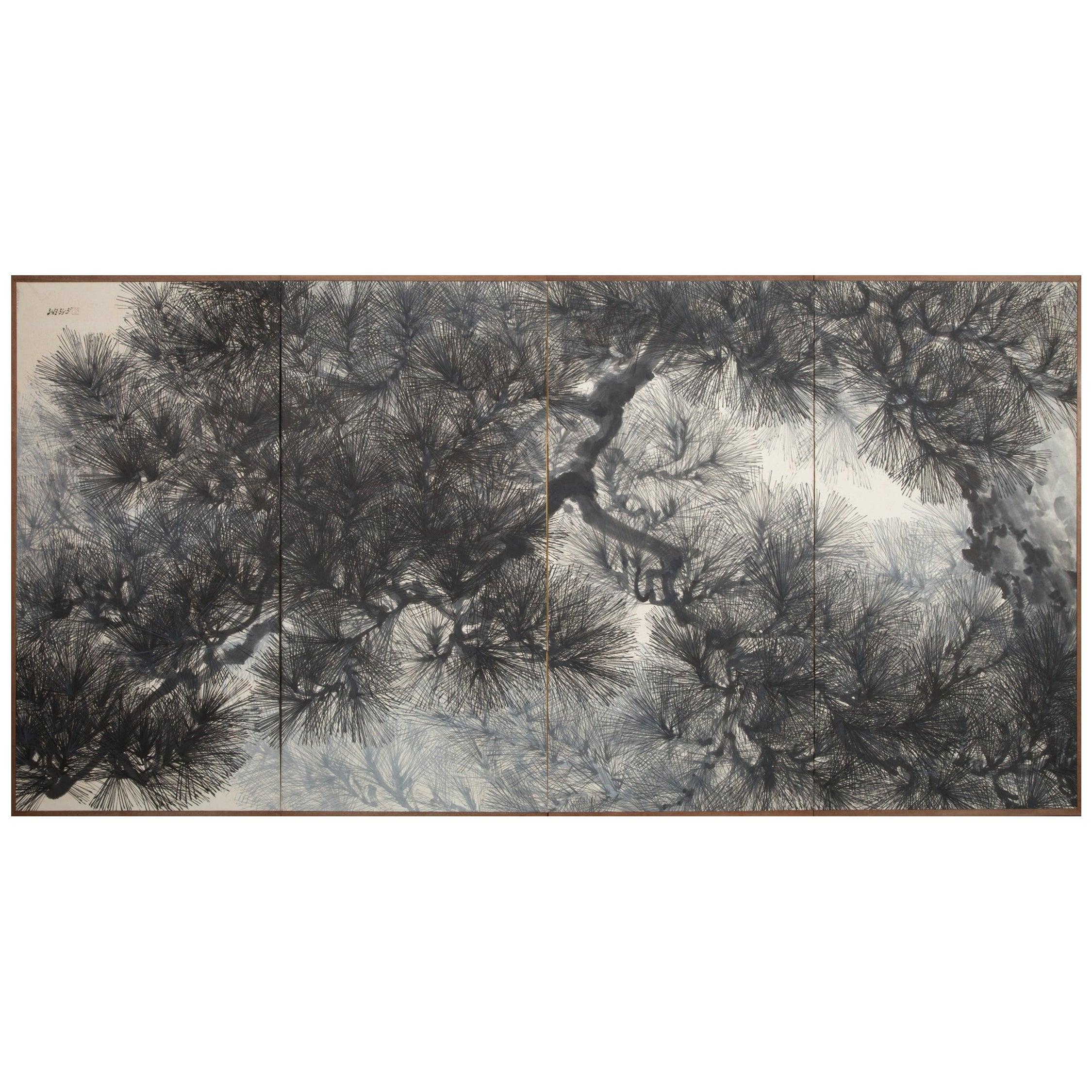 Japanese Four-Panel Screen Pine Tree