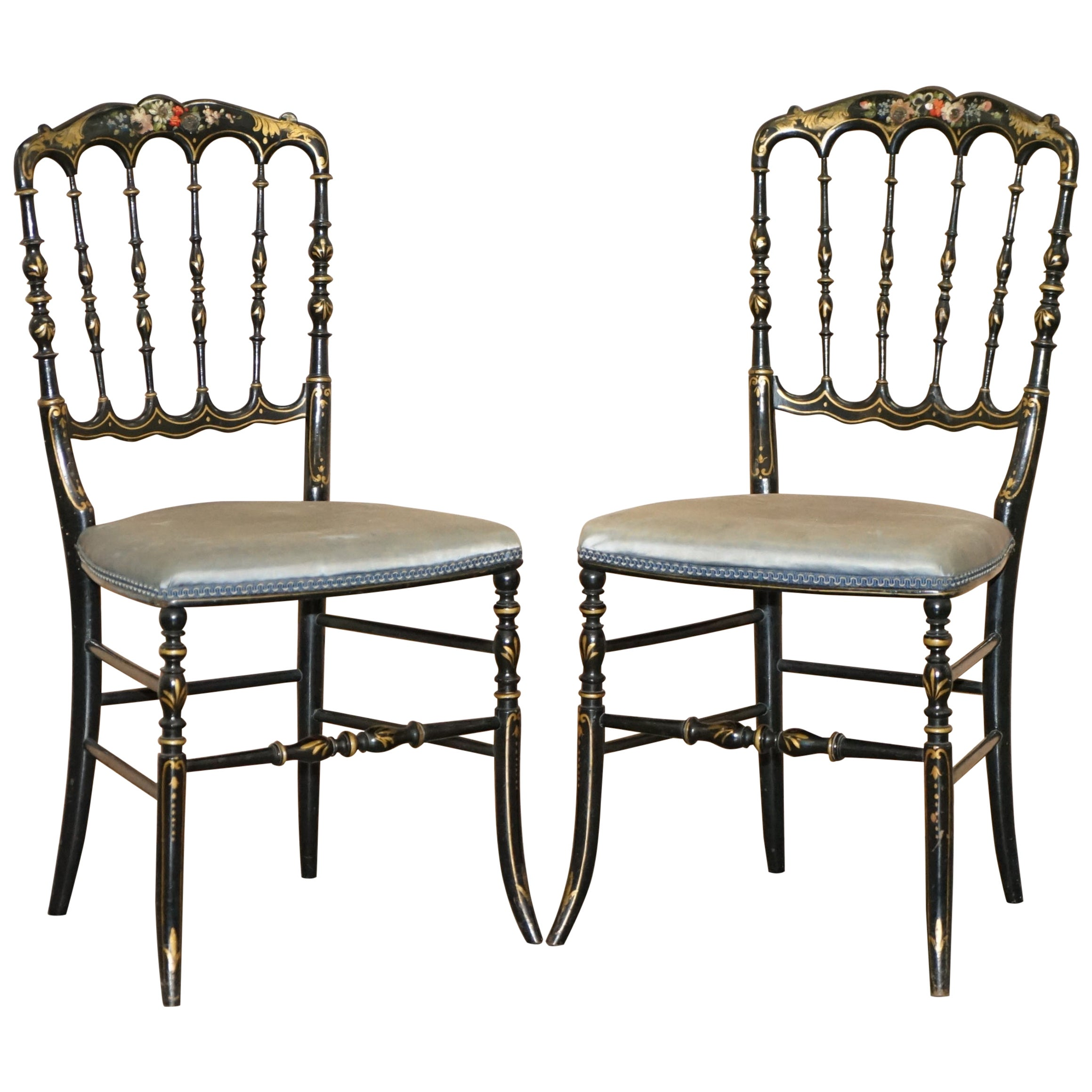 Rare Pair of Regency Floral Hand Painted Ornate Chinoiserie Ebonized Chairs