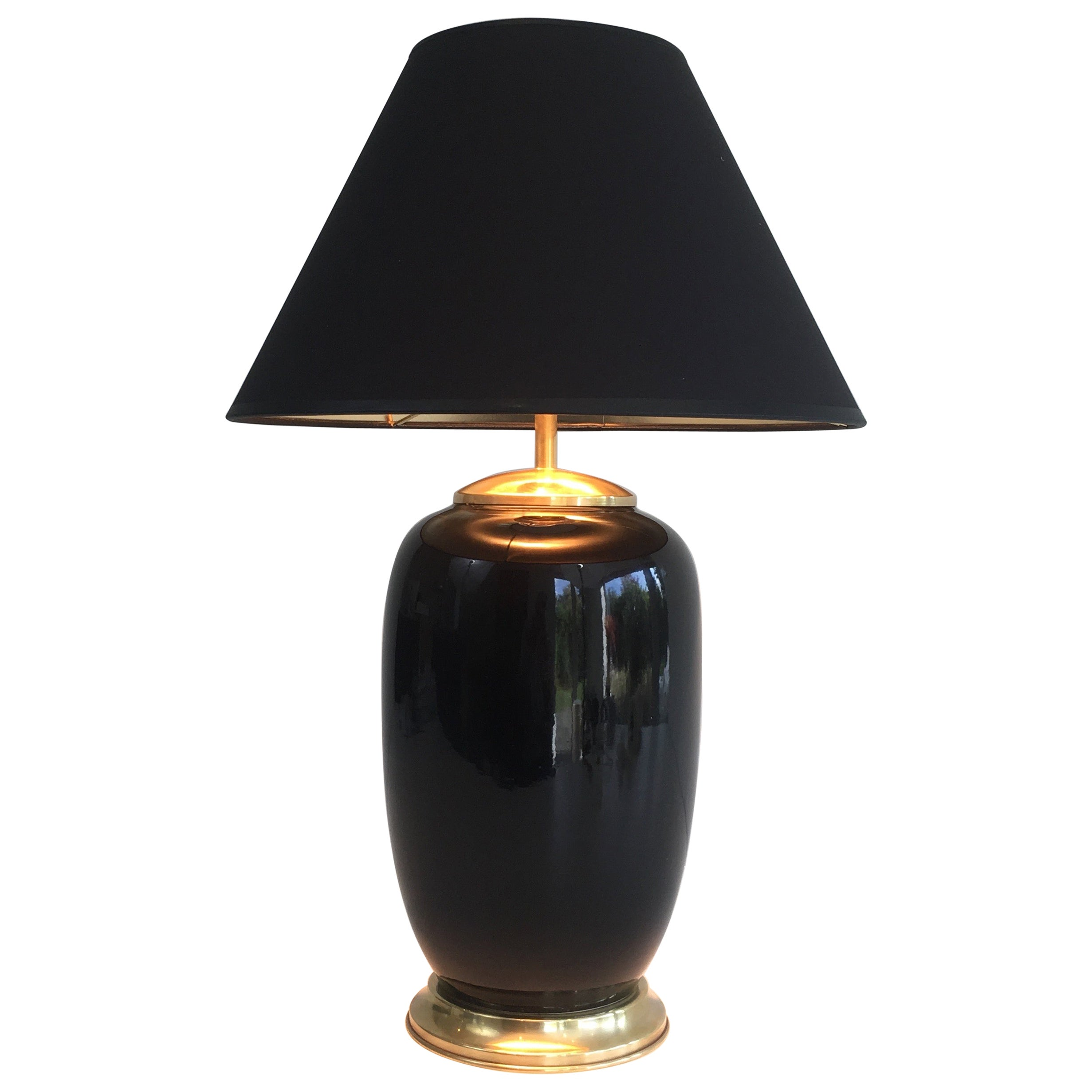 Black Lacquered Porcelain and Brass Table Lamp, French, circa 1970
