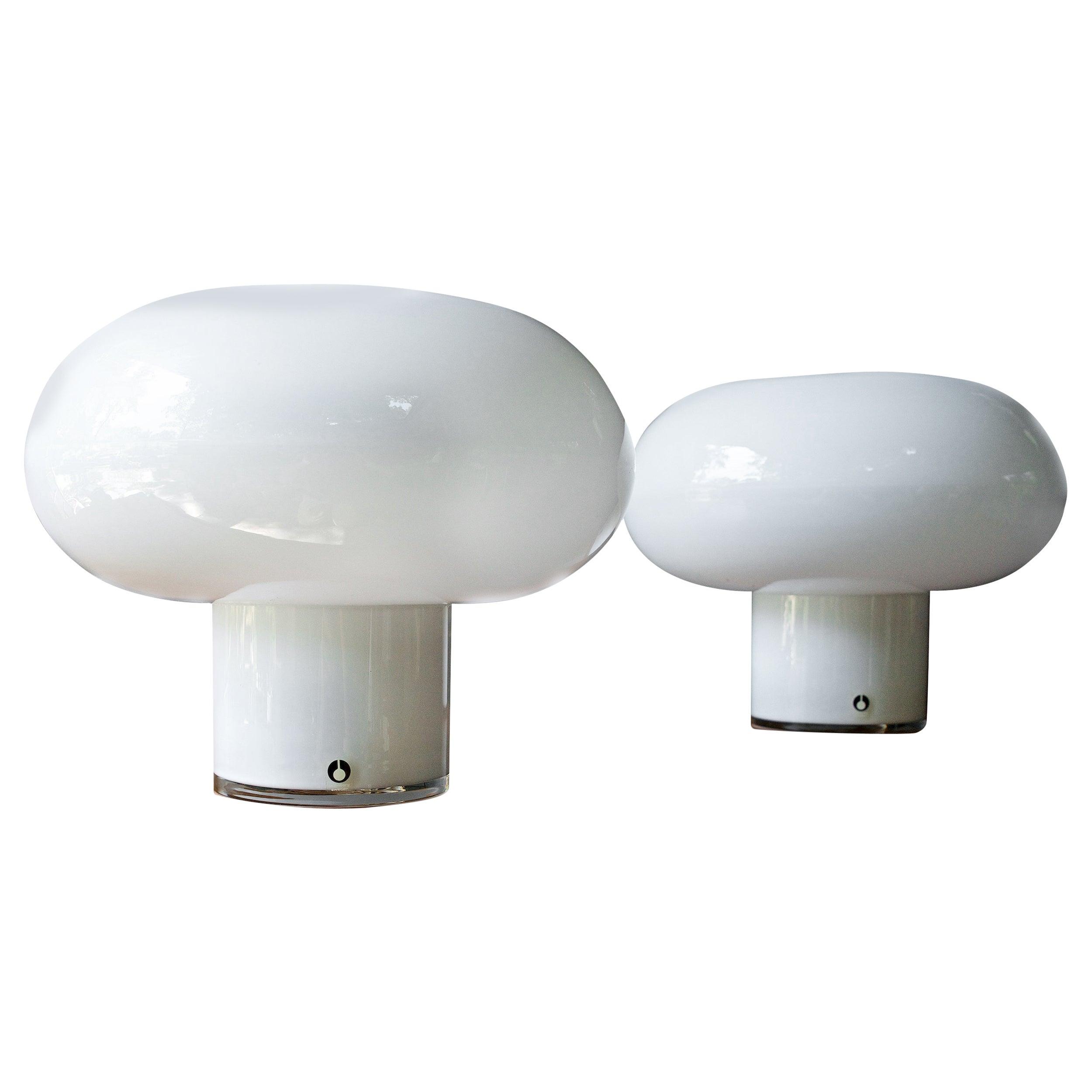 1960s Scandinavian White Cloud Table Lamps Pair Swedish Art Glass Ski Chalet