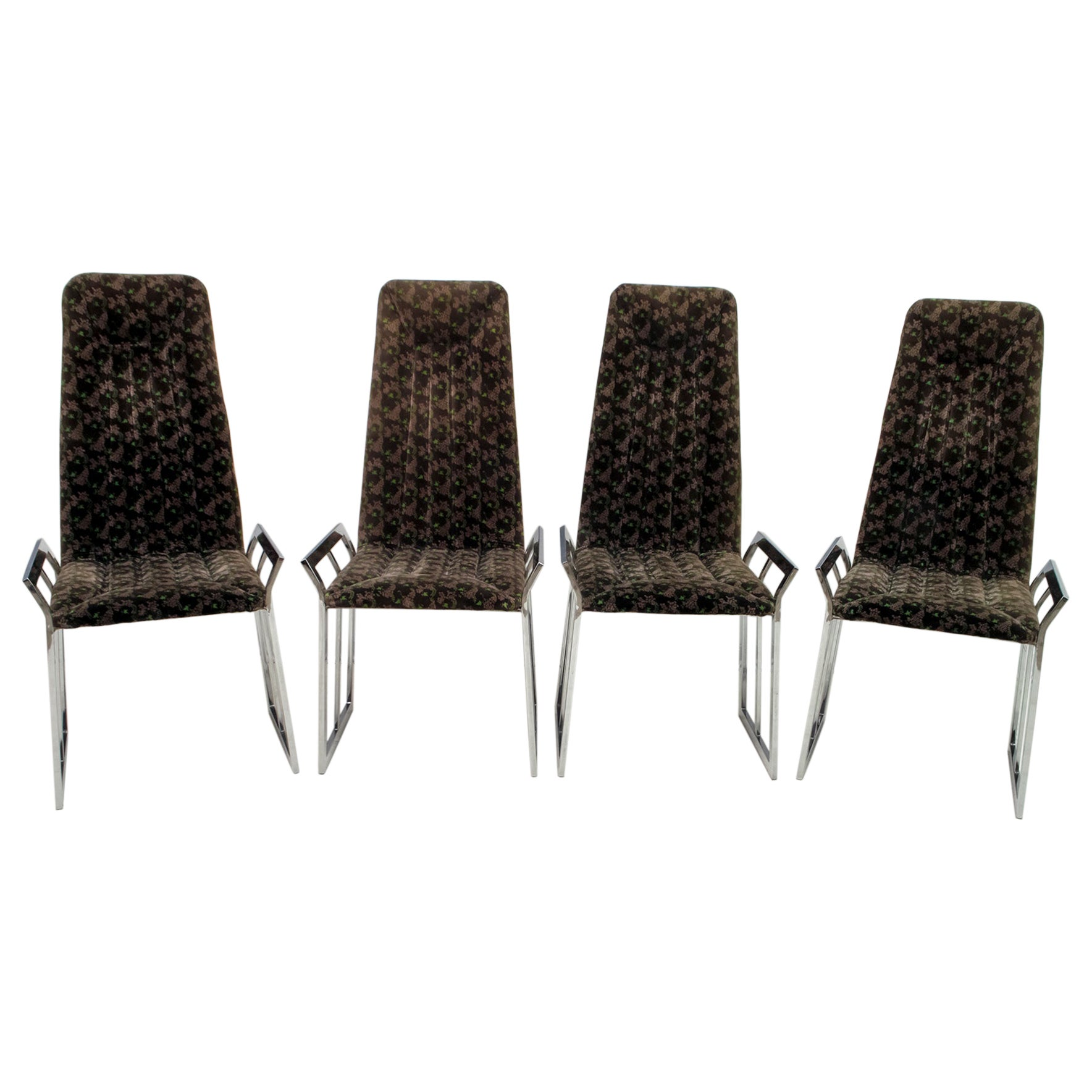 Set of 4 Mid-Century Modern Italian Chromed Steel and Velvet Dining Chairs 1970s
