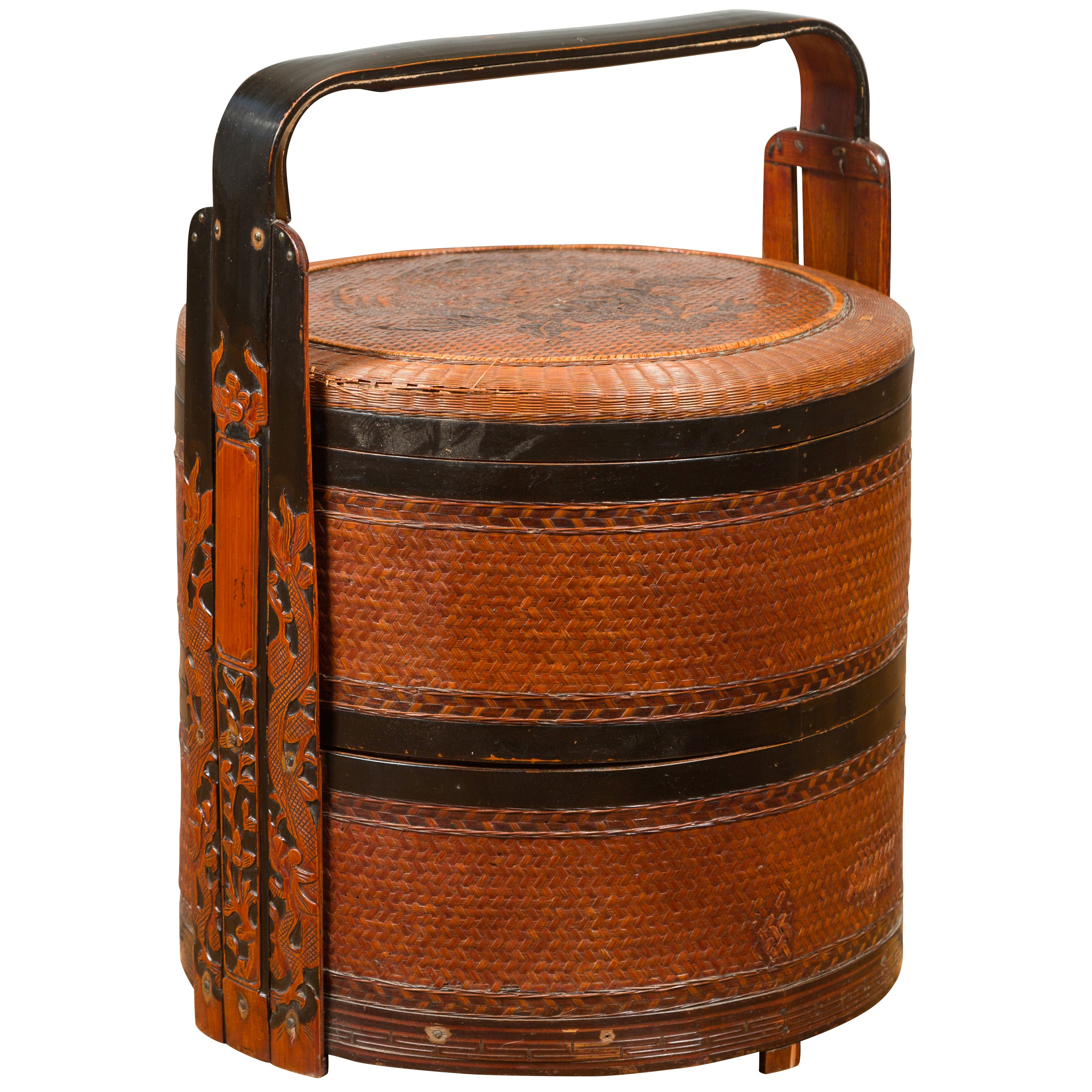 Vintage Chinese Rattan and Bamboo Nested Lunch Basket with Foliage Carved Handle