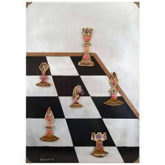 Signed Metal Wall Art 'Chess' by Artist Alex Kovacs, 1970s