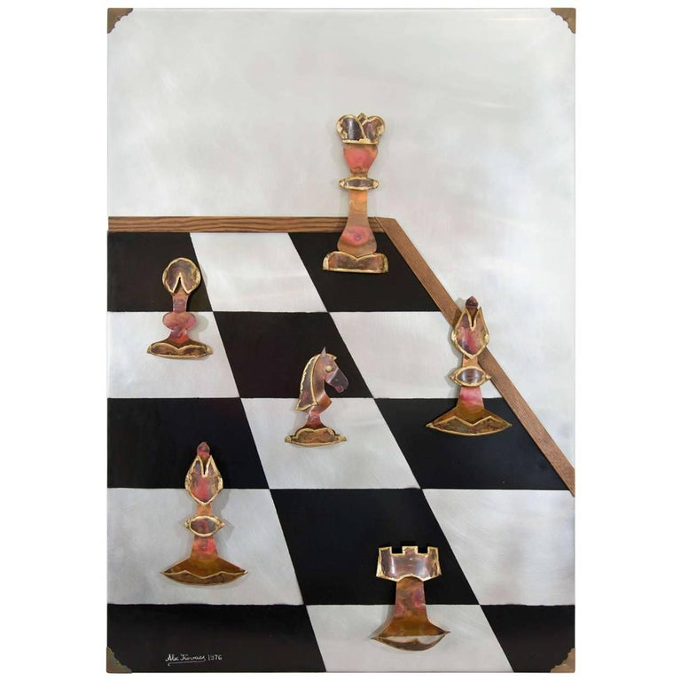 Large Signed Metal Wall Art 'Chess' by Artist Alex Kovacs, 1970s