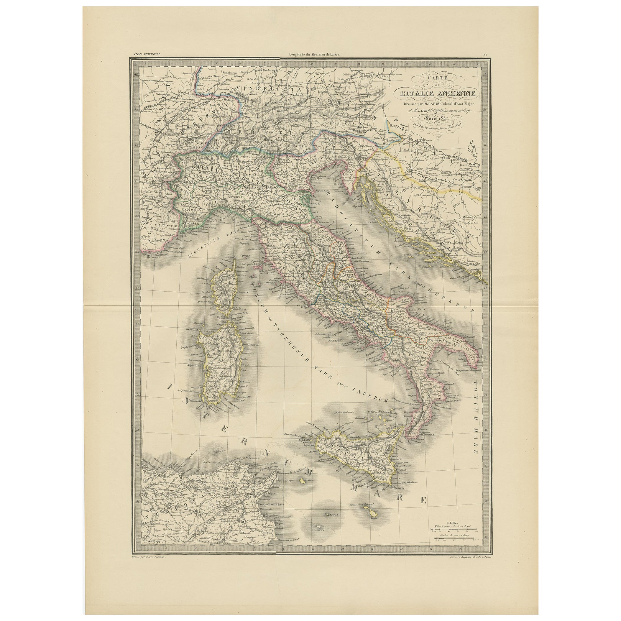 Antique Map of Italy by Lapie, 1842