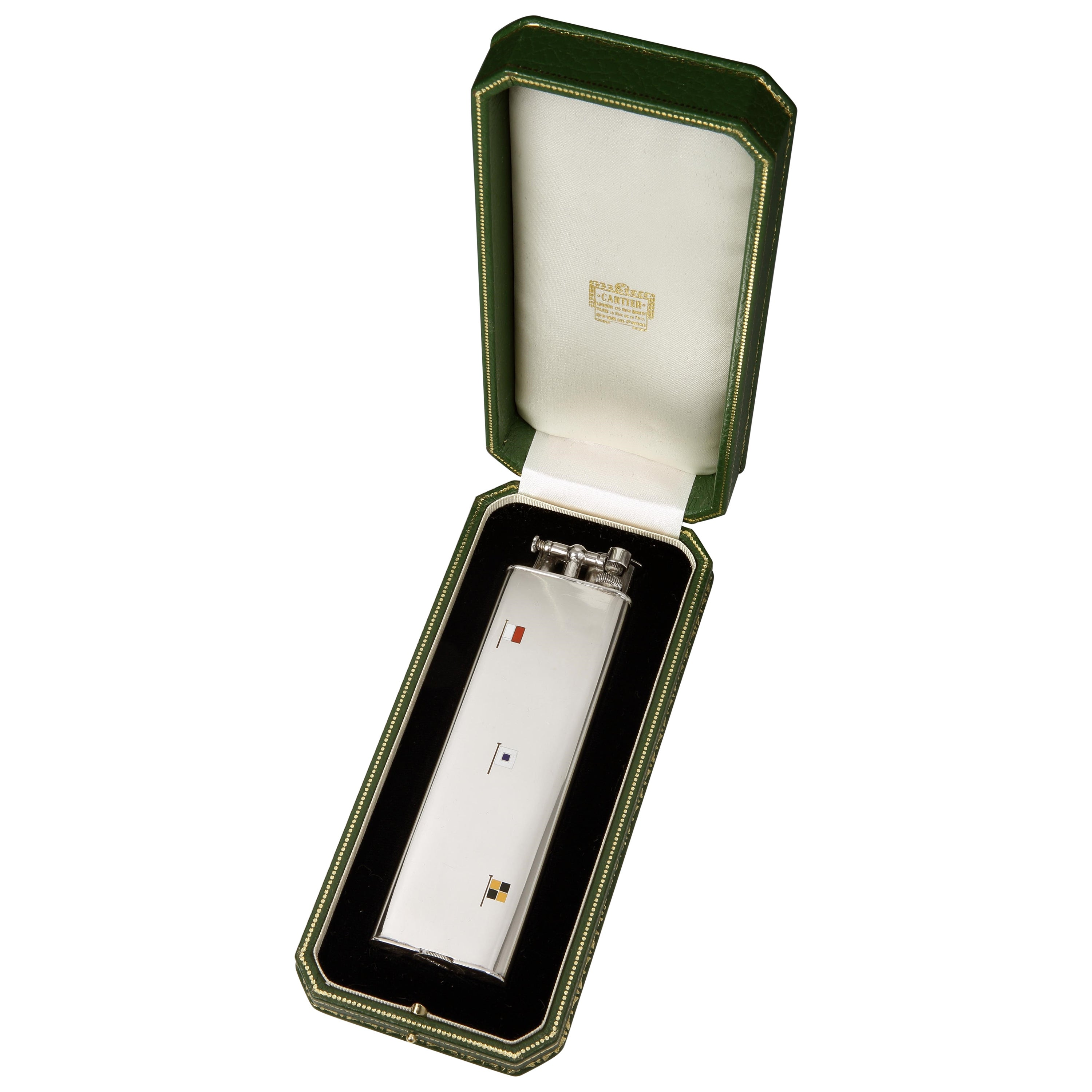 Dunhill for Cartier Art Deco Sterling Silver Lighter, with Enamel Flags