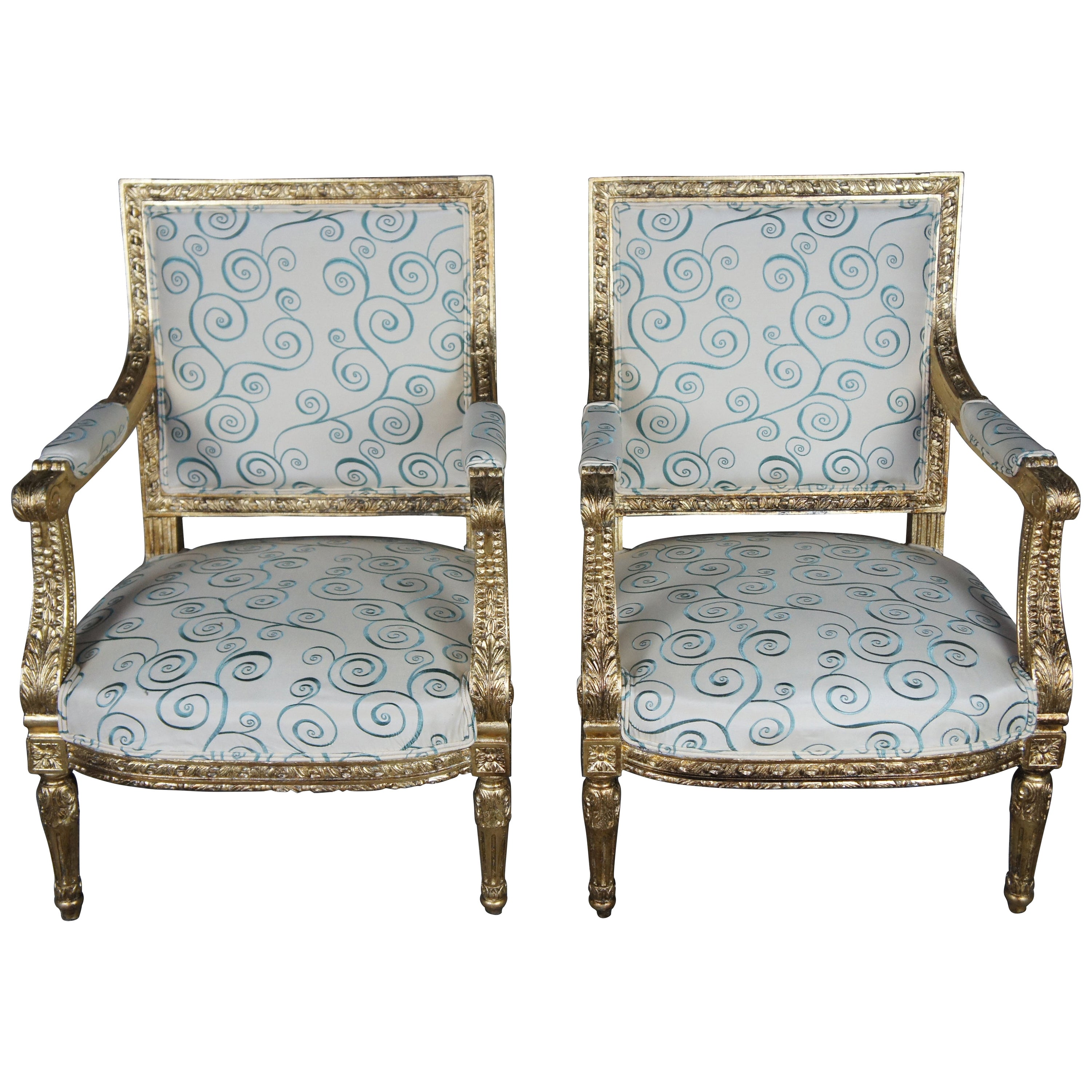 Antique 19th Century Louis XVI Fauteuil Armchairs Neoclassical French Accent