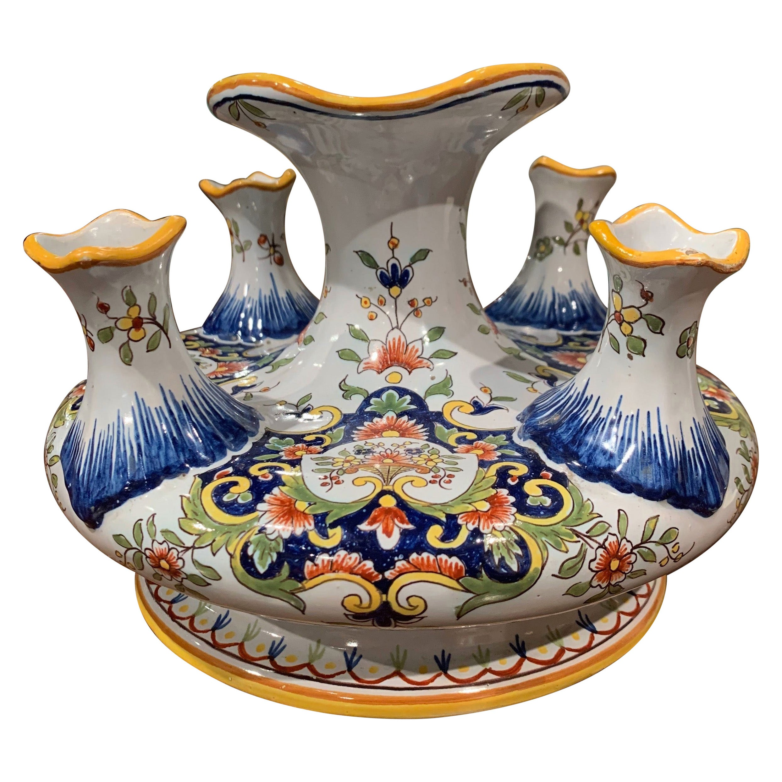 Early 20th Century French Hand Painted Faience Bouquetiere from Rouen