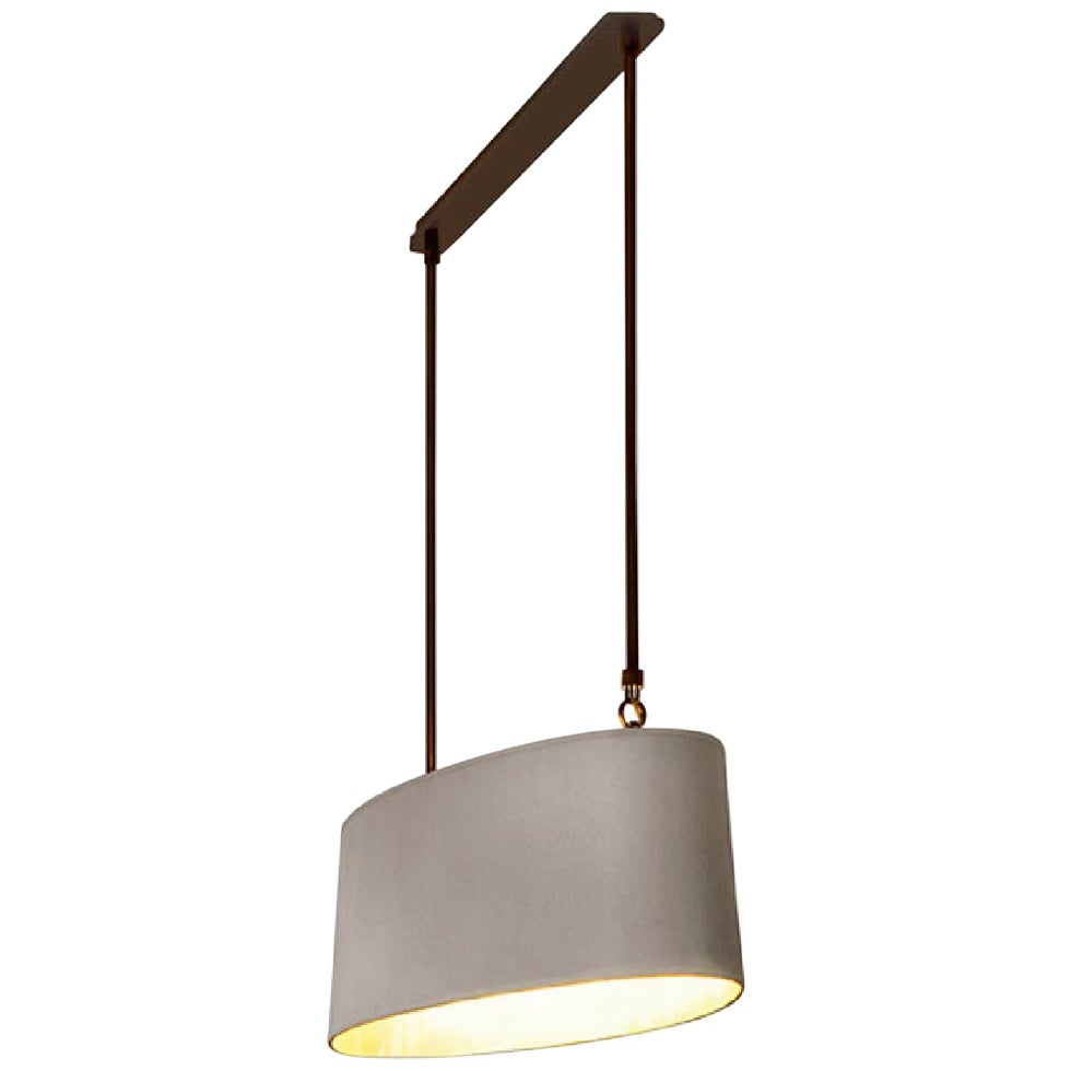 Stylish Ceiling Lamp Bronzed Metal Frame Lampshade Ivory Fabric Opal Plate