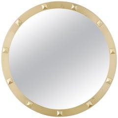 Italian 1950s Brass and Studs Circular Wall Mirror