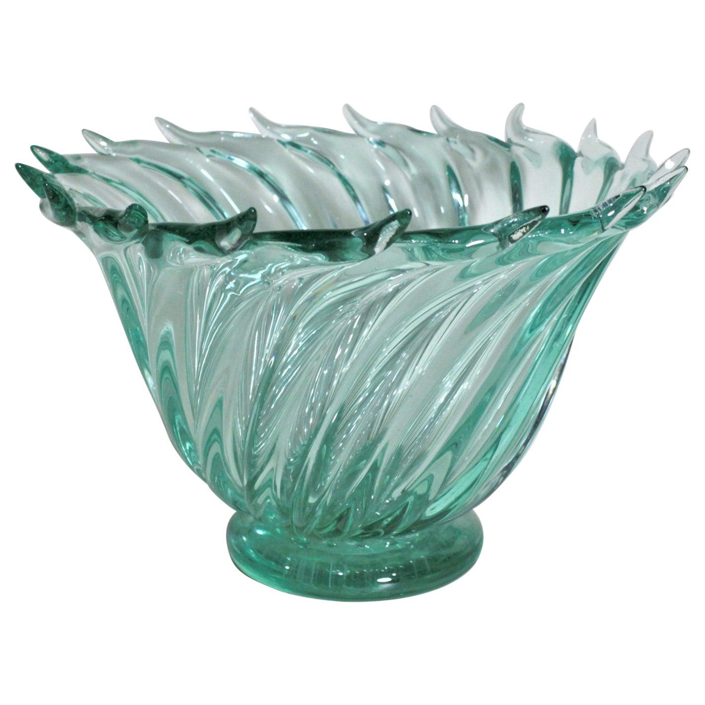 Mid-Century Modern Murano Green Art Glass Swirled Bowl Barovier Attributed