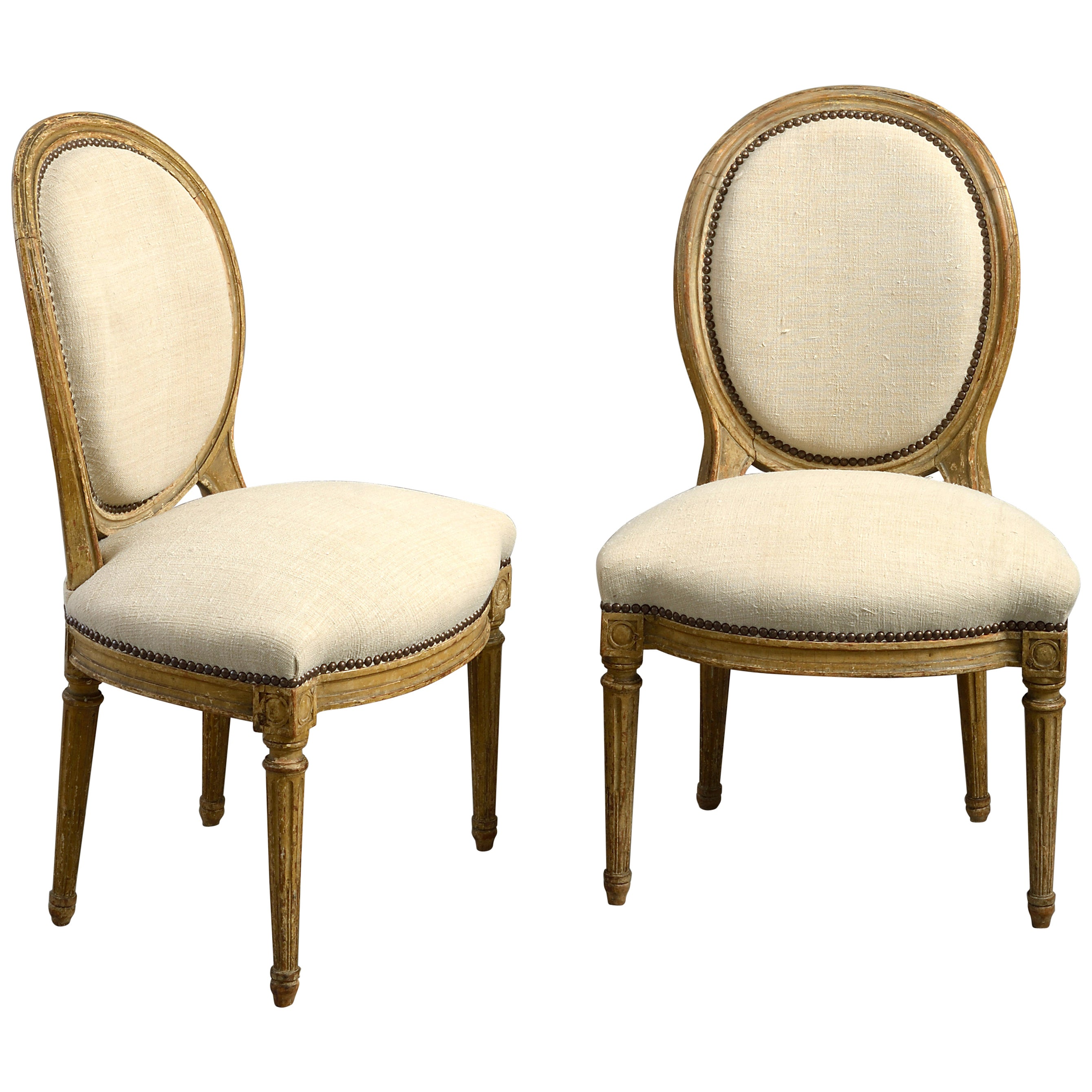 Pair of Late 18th Century Louis XVI Period Painted Side Chairs