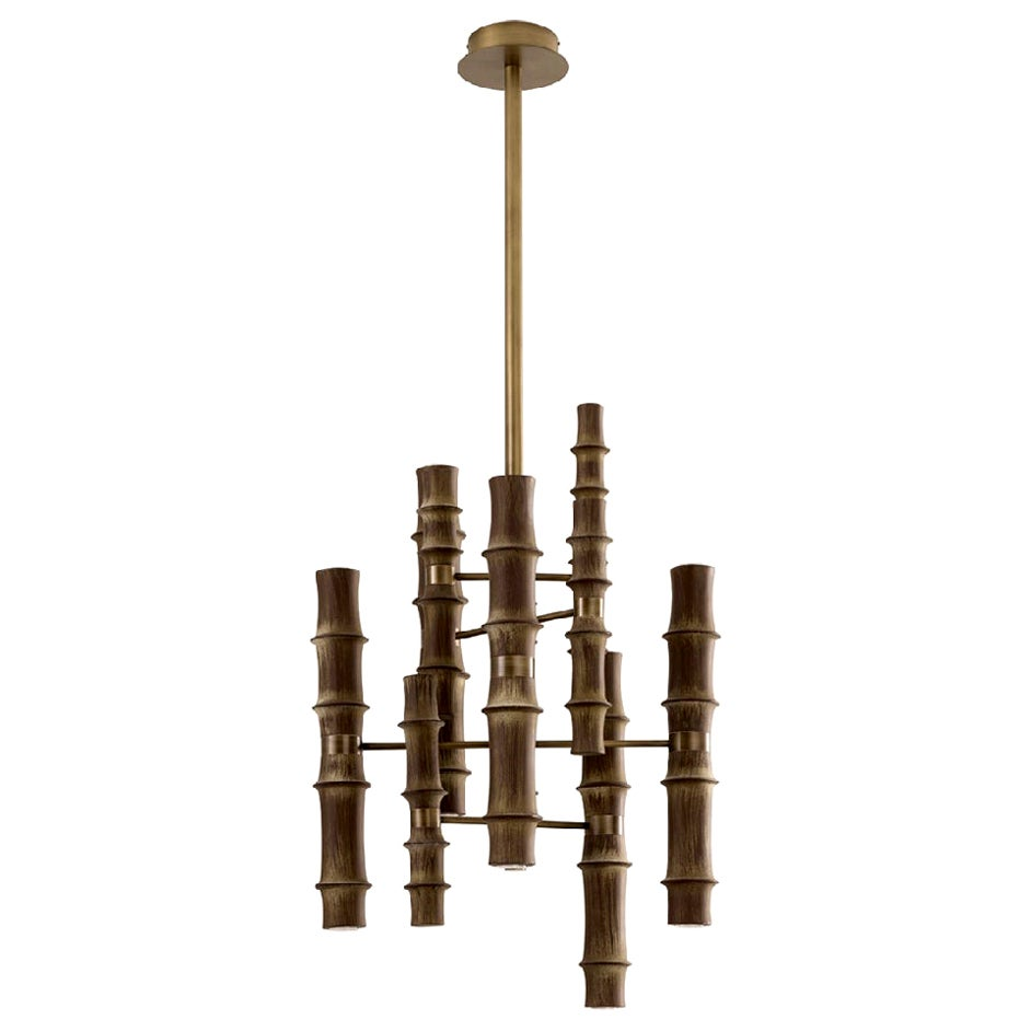Ceiling Lamp Bronzed Metal Frame Elemts Antique Bronze Finish Decorated by Hand