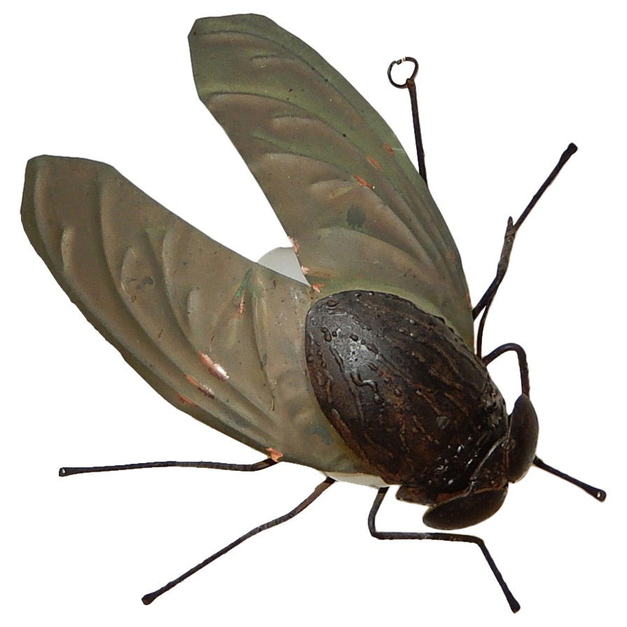 Midcentury Italian Brutalist Wrought Iron Fly Green Wings Sconce