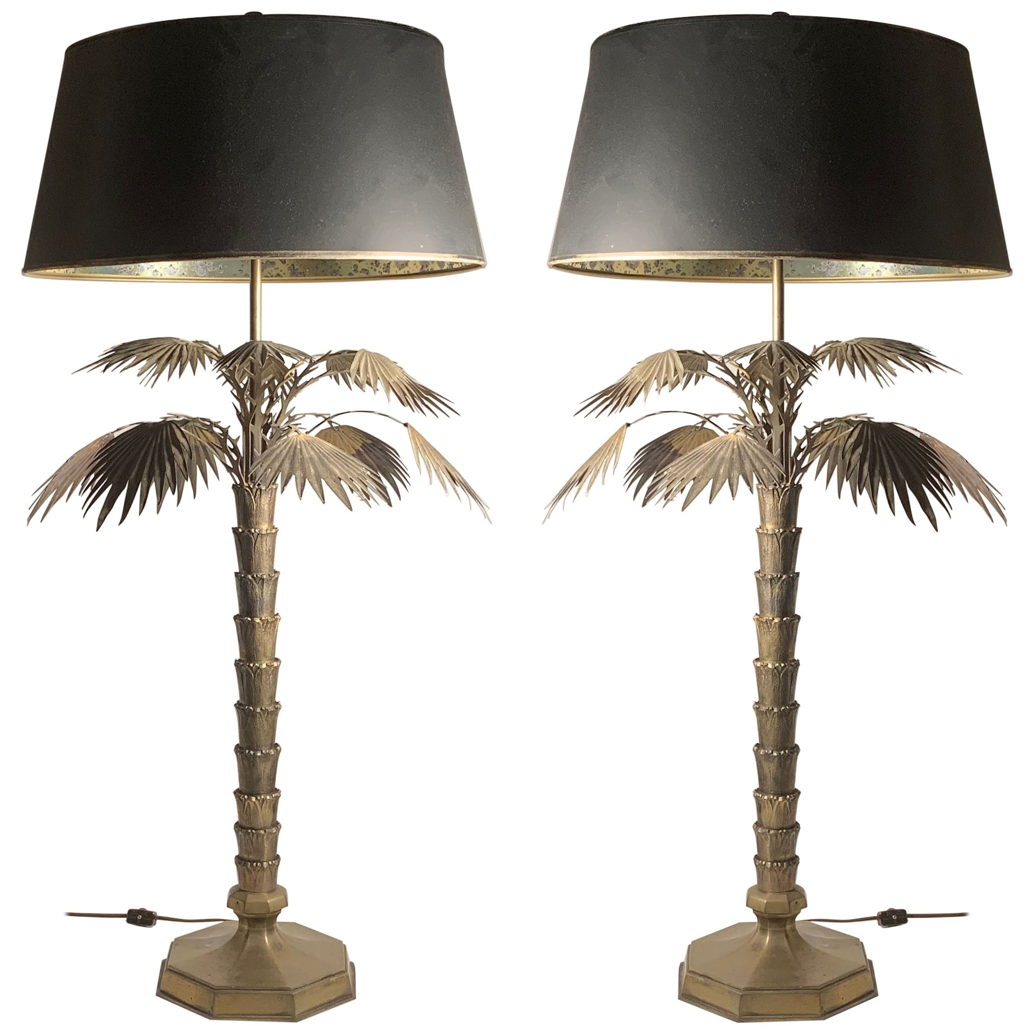 Pair of Vintage 1970s Brass Chapman Palm Lamps