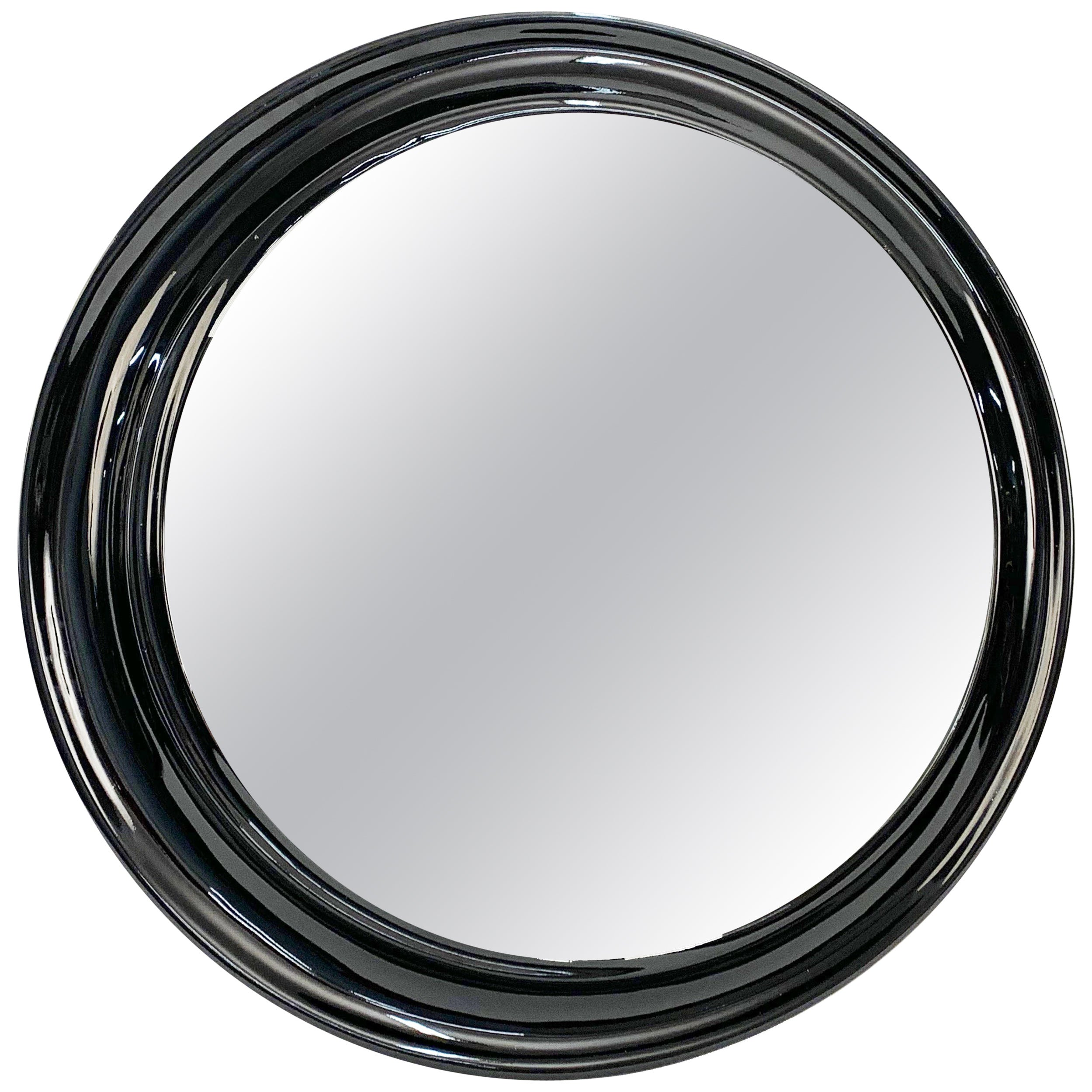 Midcentury Round Italian Mirror with Black Lacquered Resin Frame, 1970s