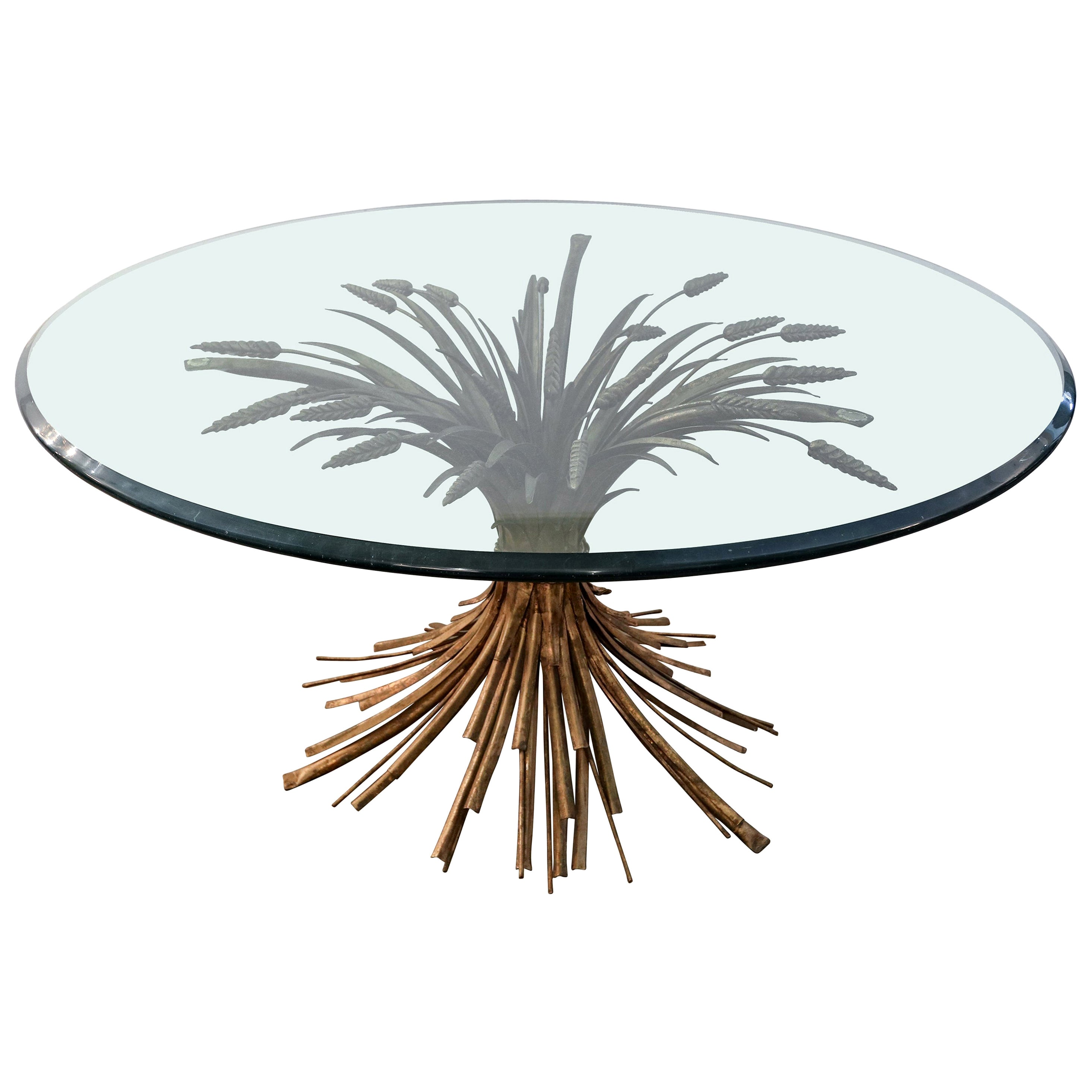 Sheaf of Wheat Metal Coffee Table with Glass Top, 1950s
