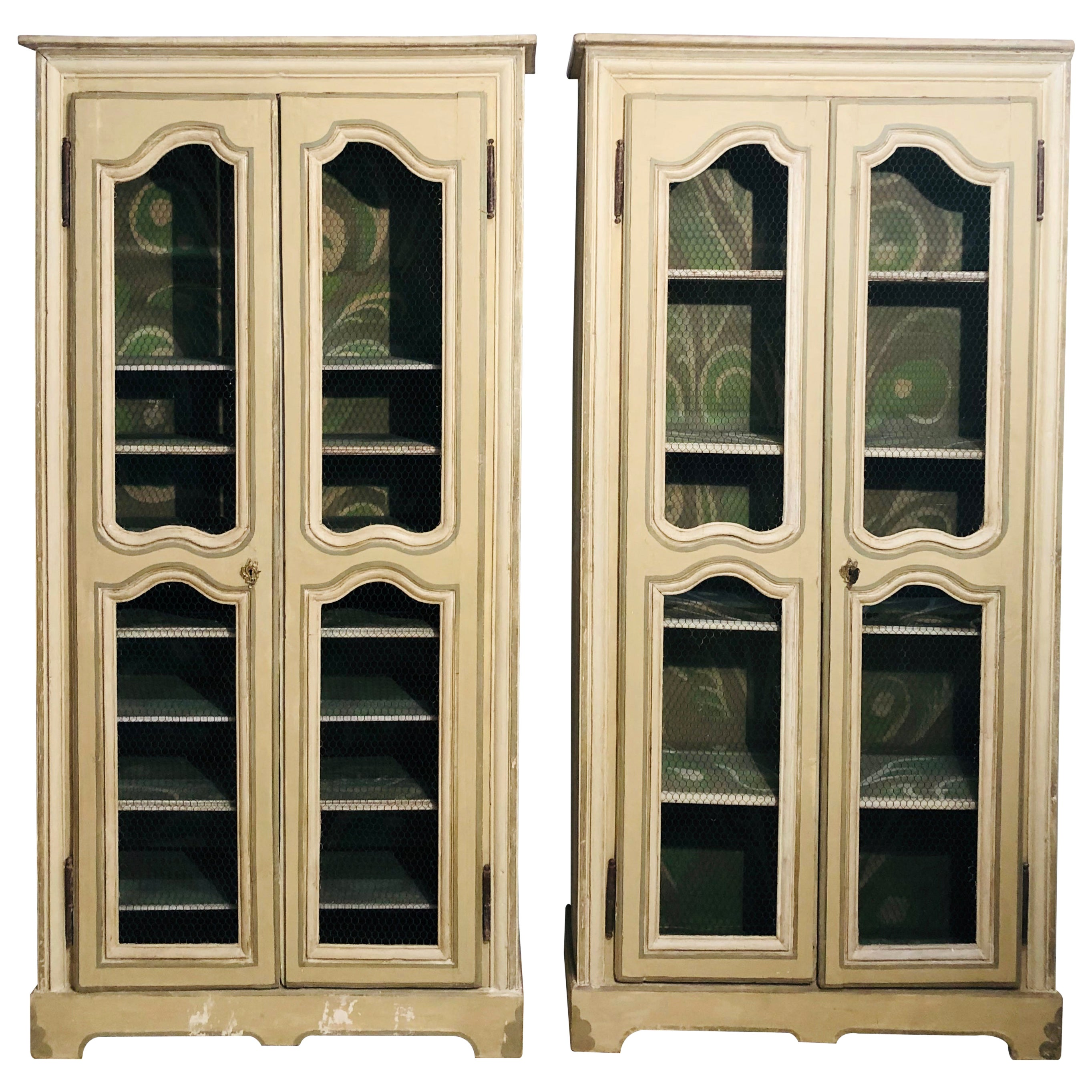 Pair of Continental Bookcase Cabinets Original Paint Decorated