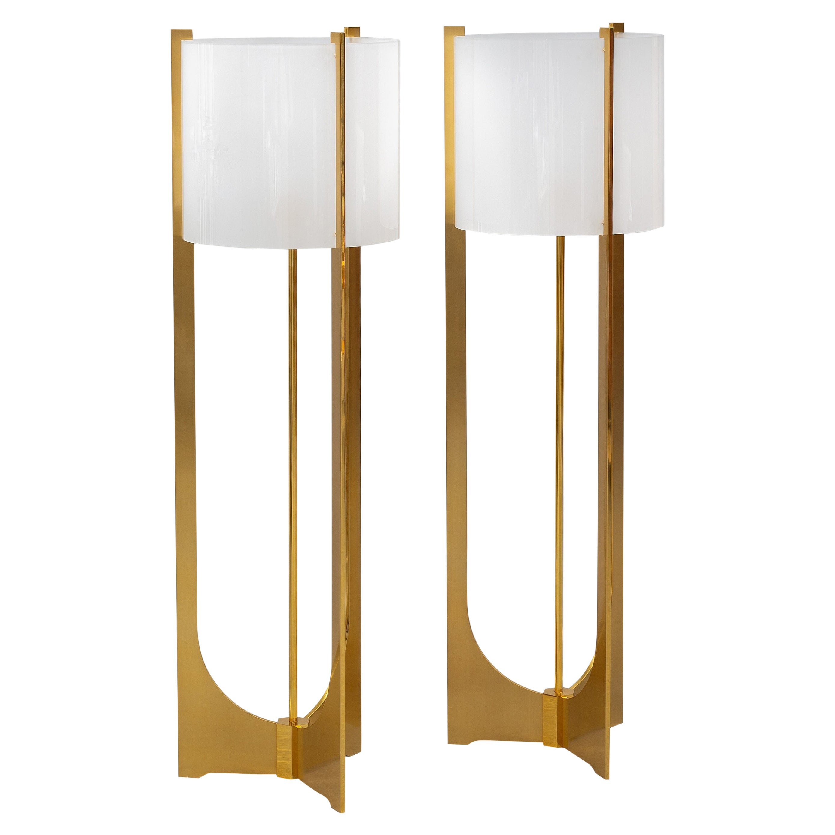 Two Floor Lamps by Maison Charles, Paris, 1970s