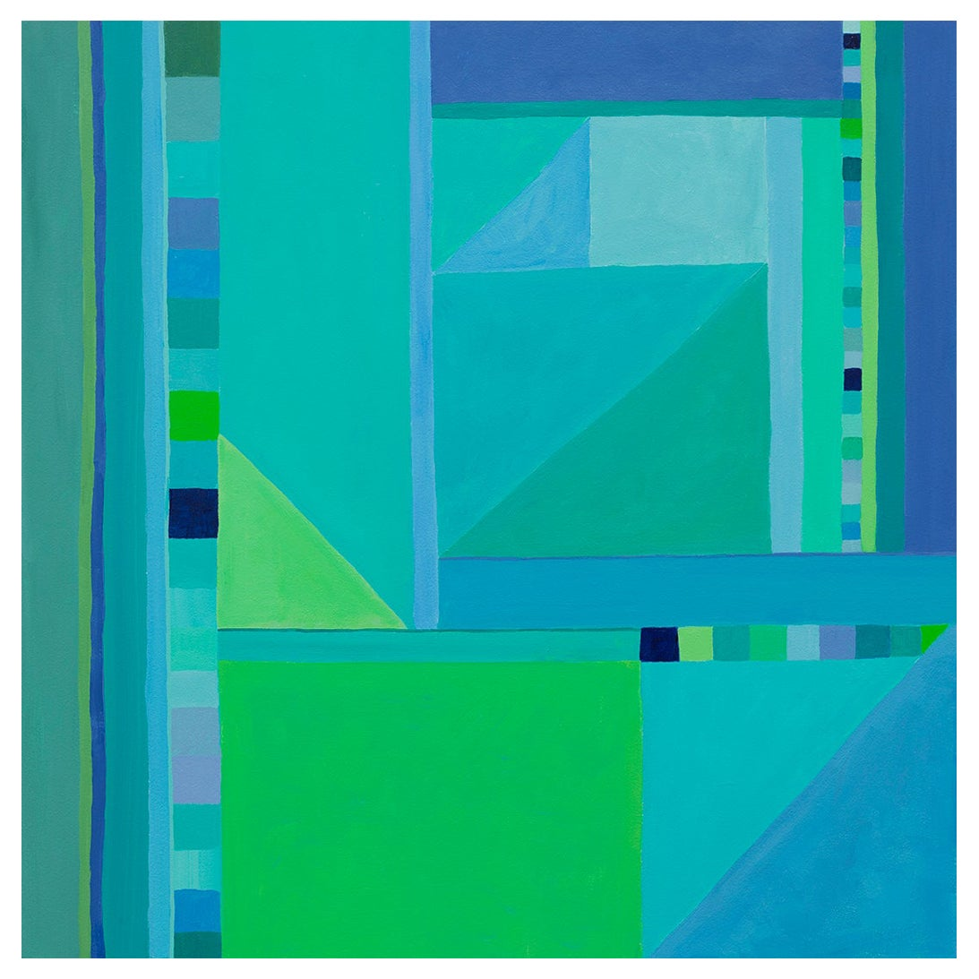 Abstract Painting on Panel in Blues and Greens