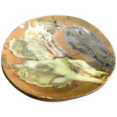 Peter Voulkos Signed Large Heavy Modern Glazed Stoneware Plate Charger, 1961