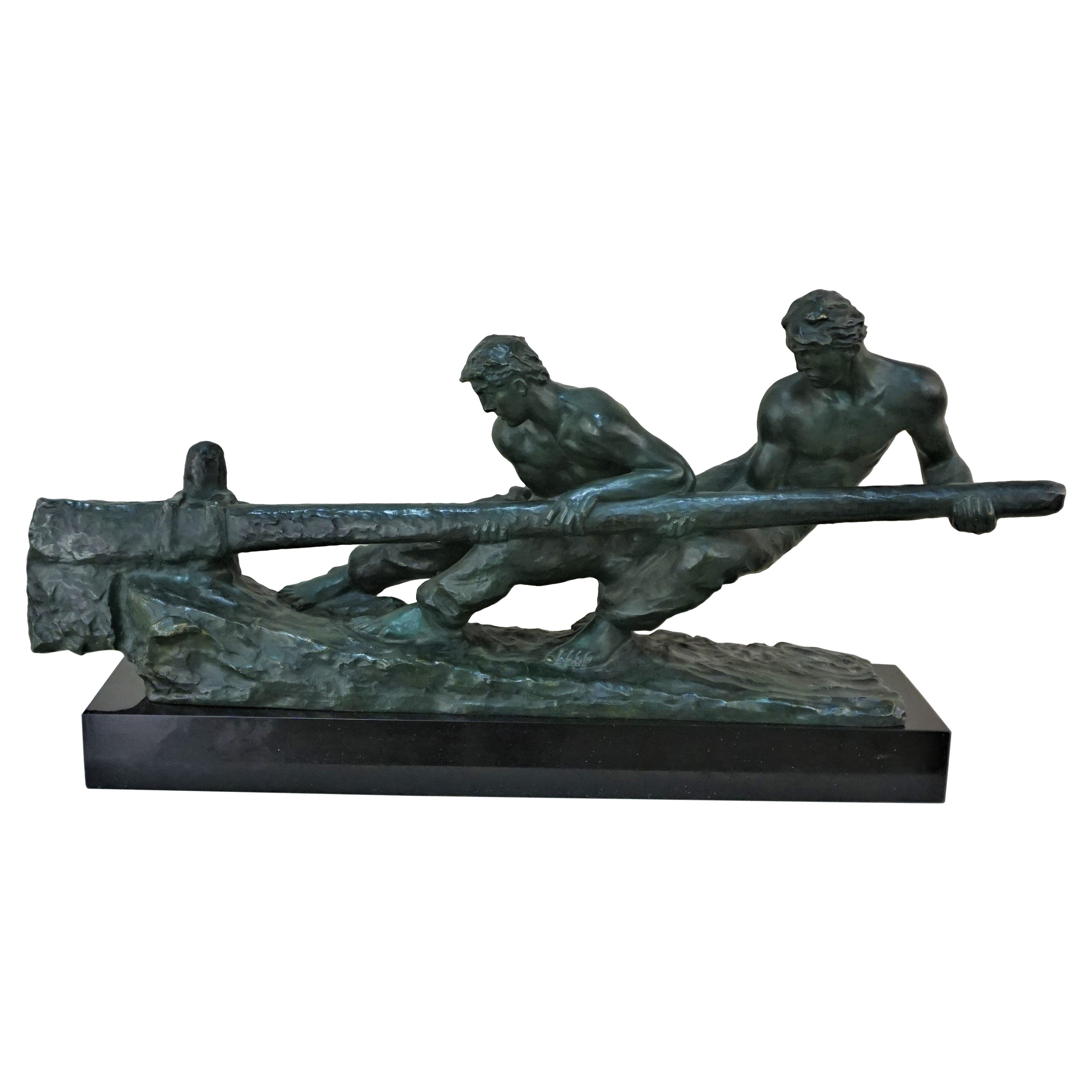 Bronze Sculpture Two Men Steering by Alexandre Kelety