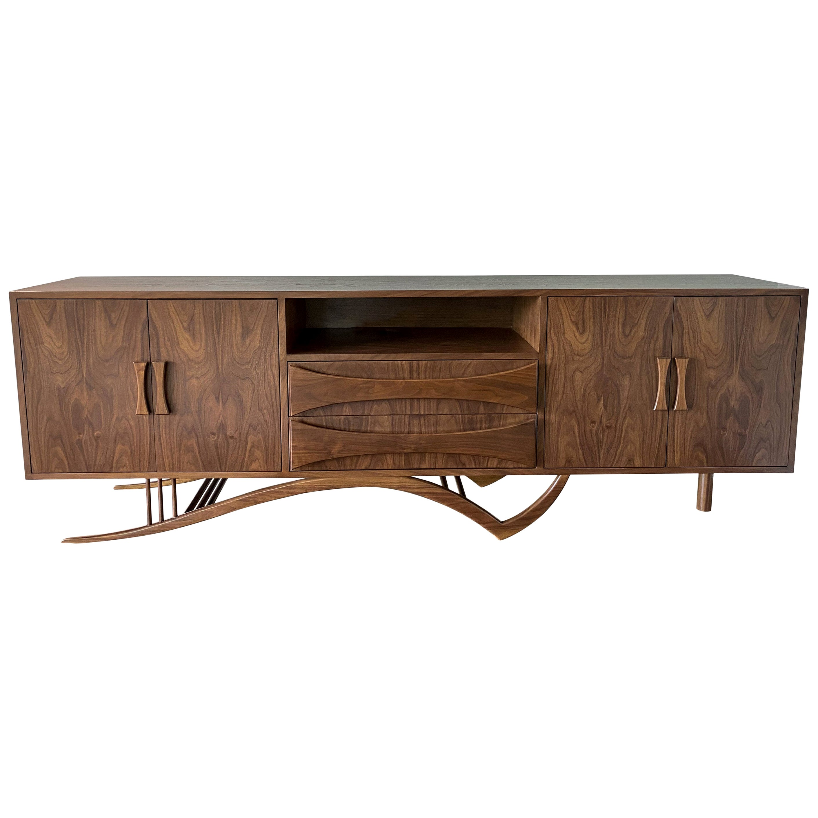 Custom Midcentury Style Walnut Sideboard with Curved Leg by Adesso Imports