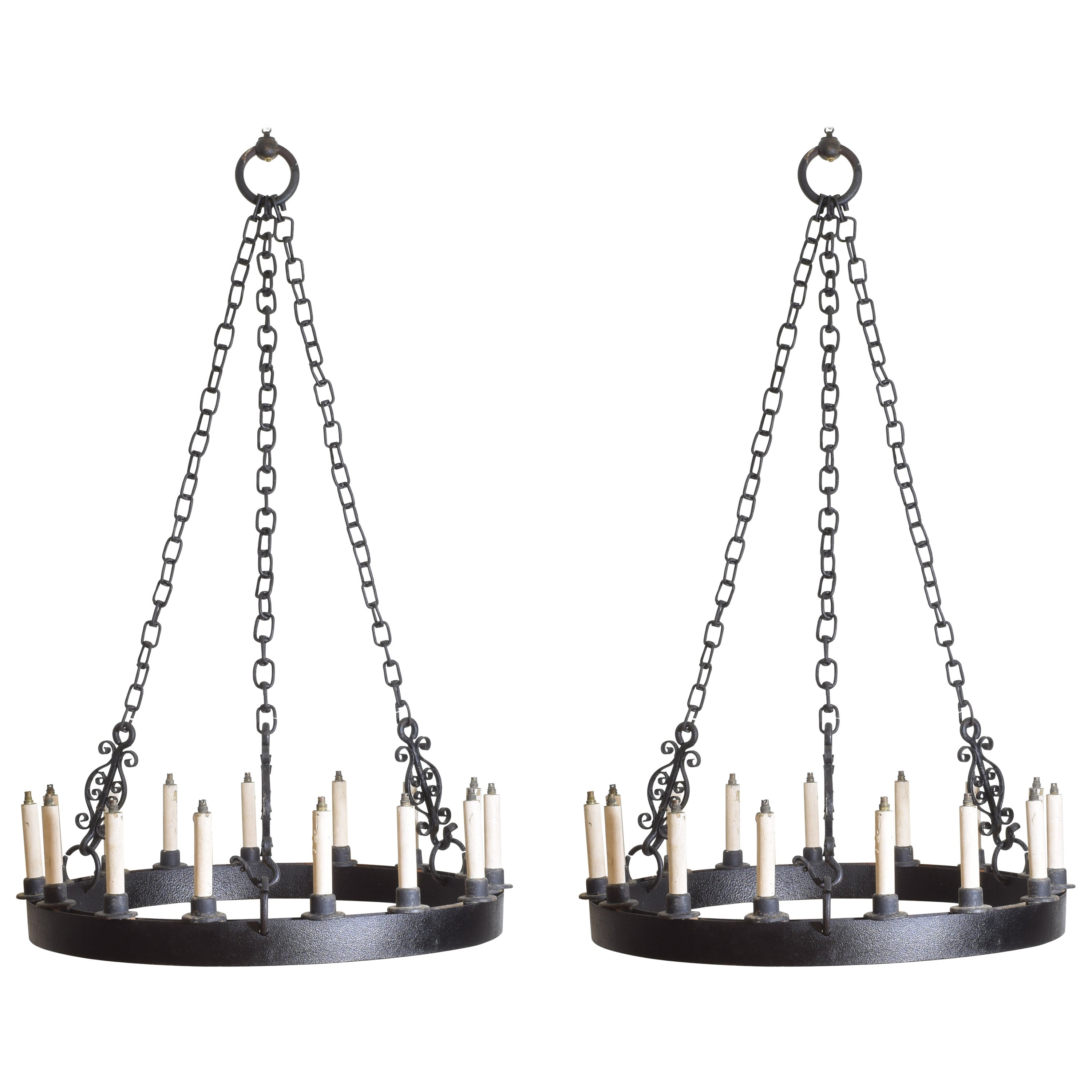 Pair of Large English Wrought Iron 15-Light Chandeliers, circa 1910
