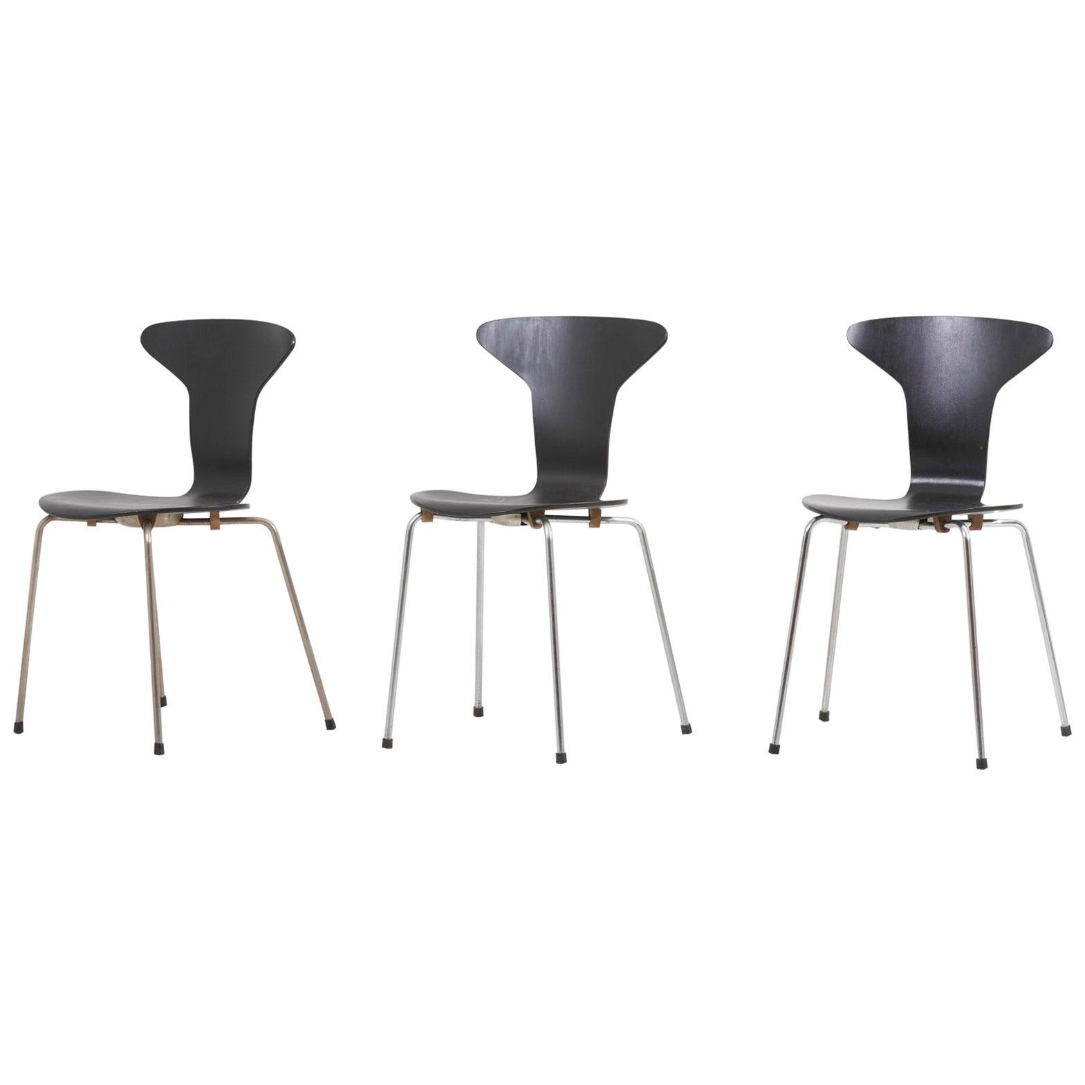 Set of 3 Mosquito Munkegård Dining Chairs by Arne Jacobsen, Denmark, 1950s