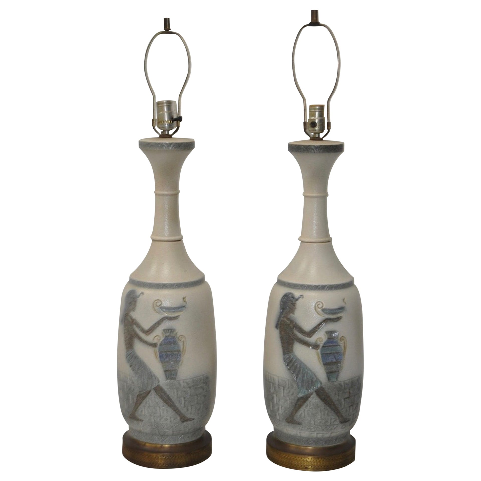 Pair of Vintage Egyptian Revival Ceramic Table Lamps, circa 1960s