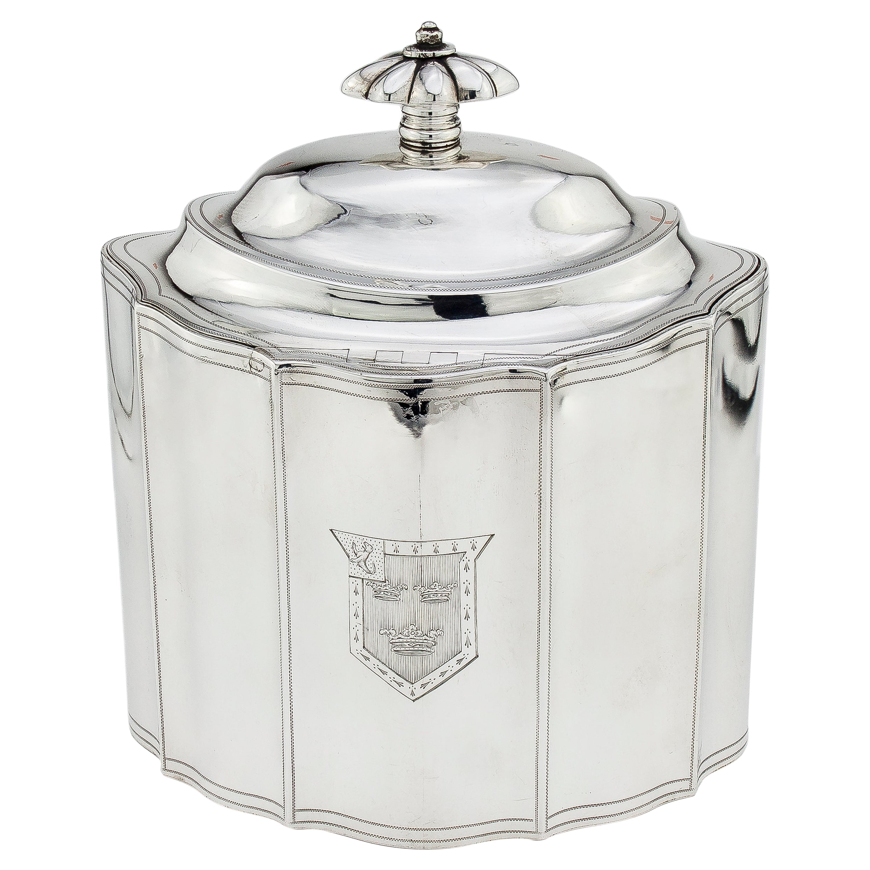 Antique Georgian Sterling Silver Tea Caddy with Coat of Arms, London, 1796