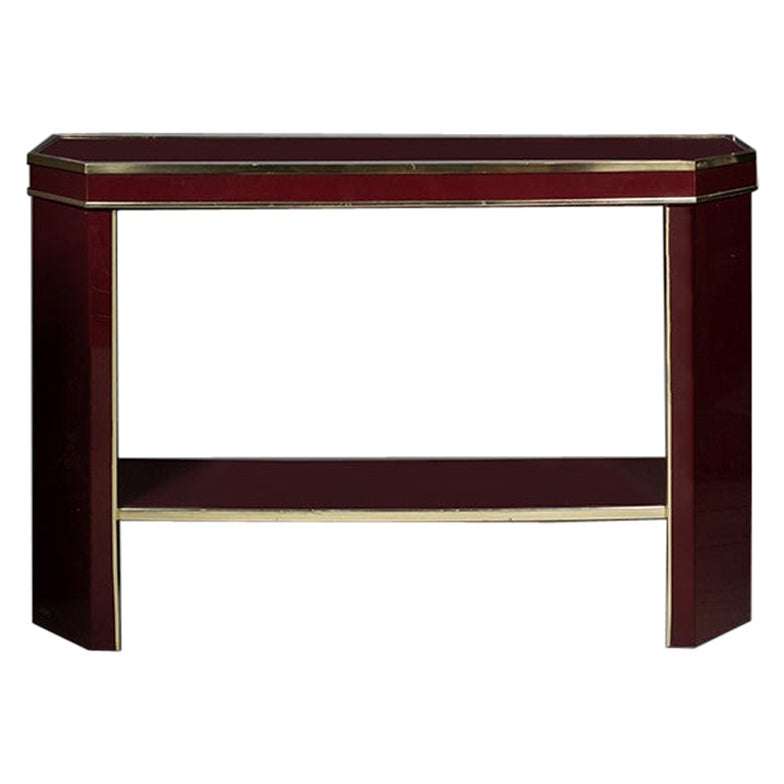 Italian Burgundy Lacquered and Brass Console Table, 1980s
