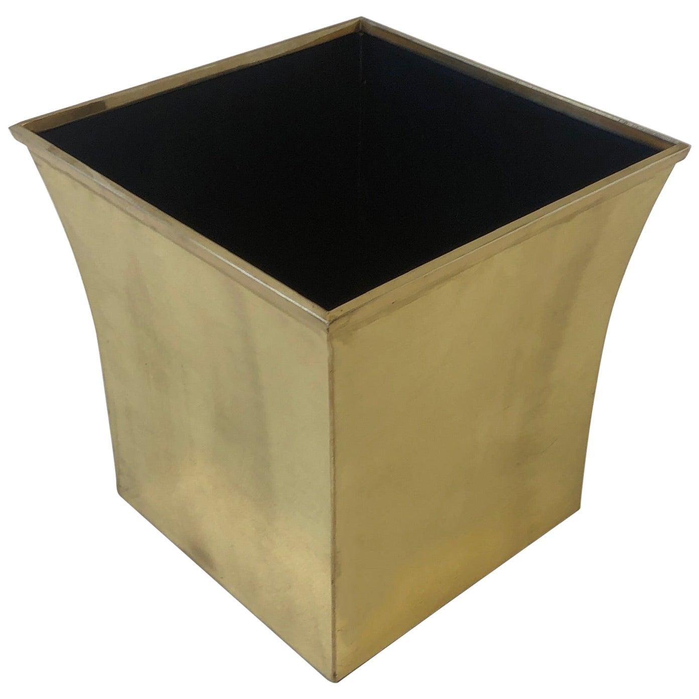 Polished Brass Wastebasket by Karl Springer