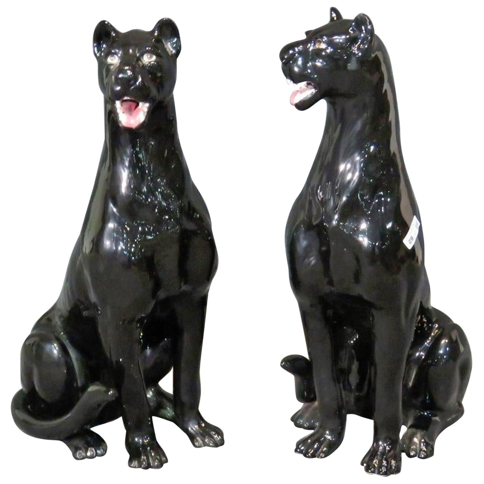 Pair of Ceramic Black Panthers
