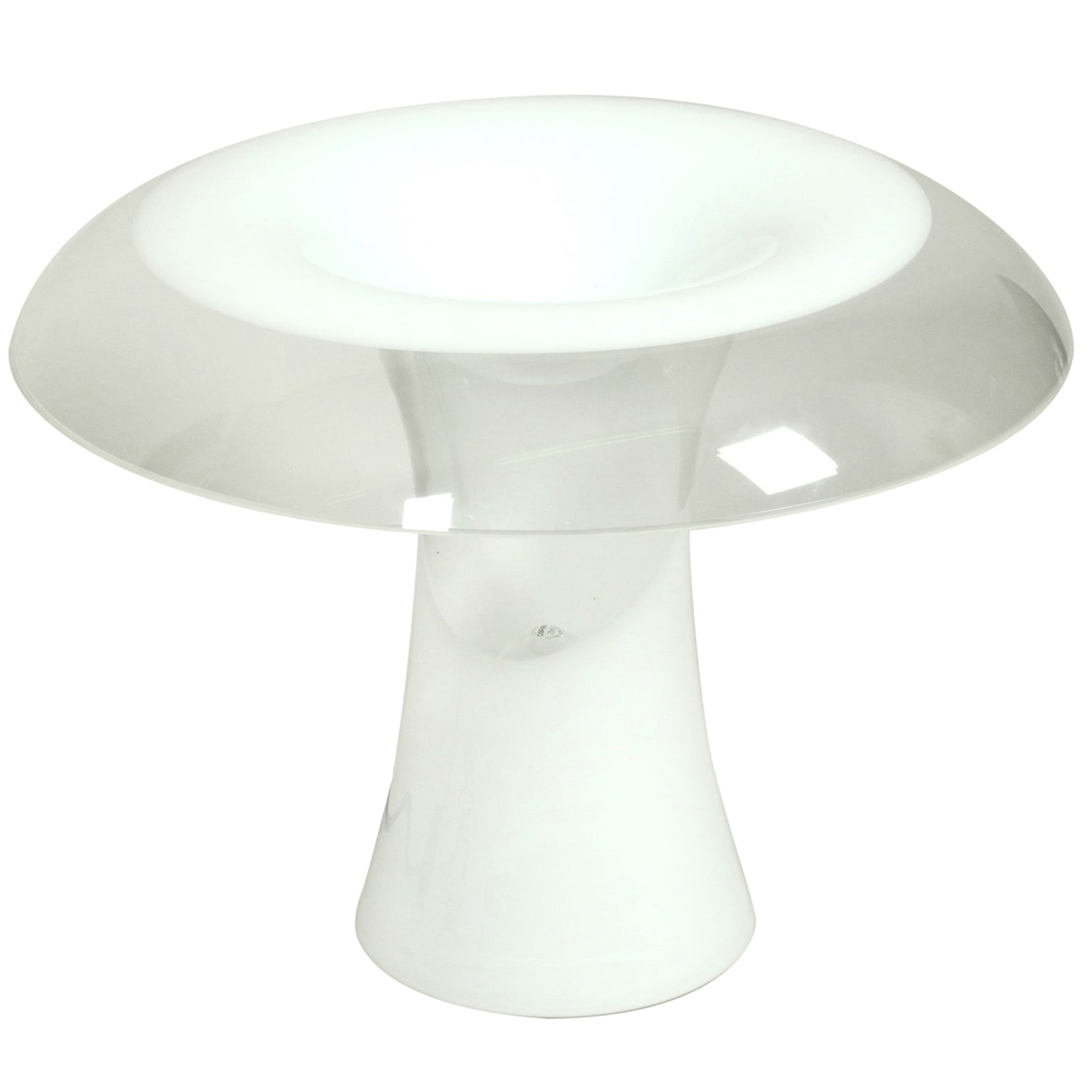 Huge 1960s Italian Two-Piece Murano Glass Mushroom Table Lamp by Vistosi