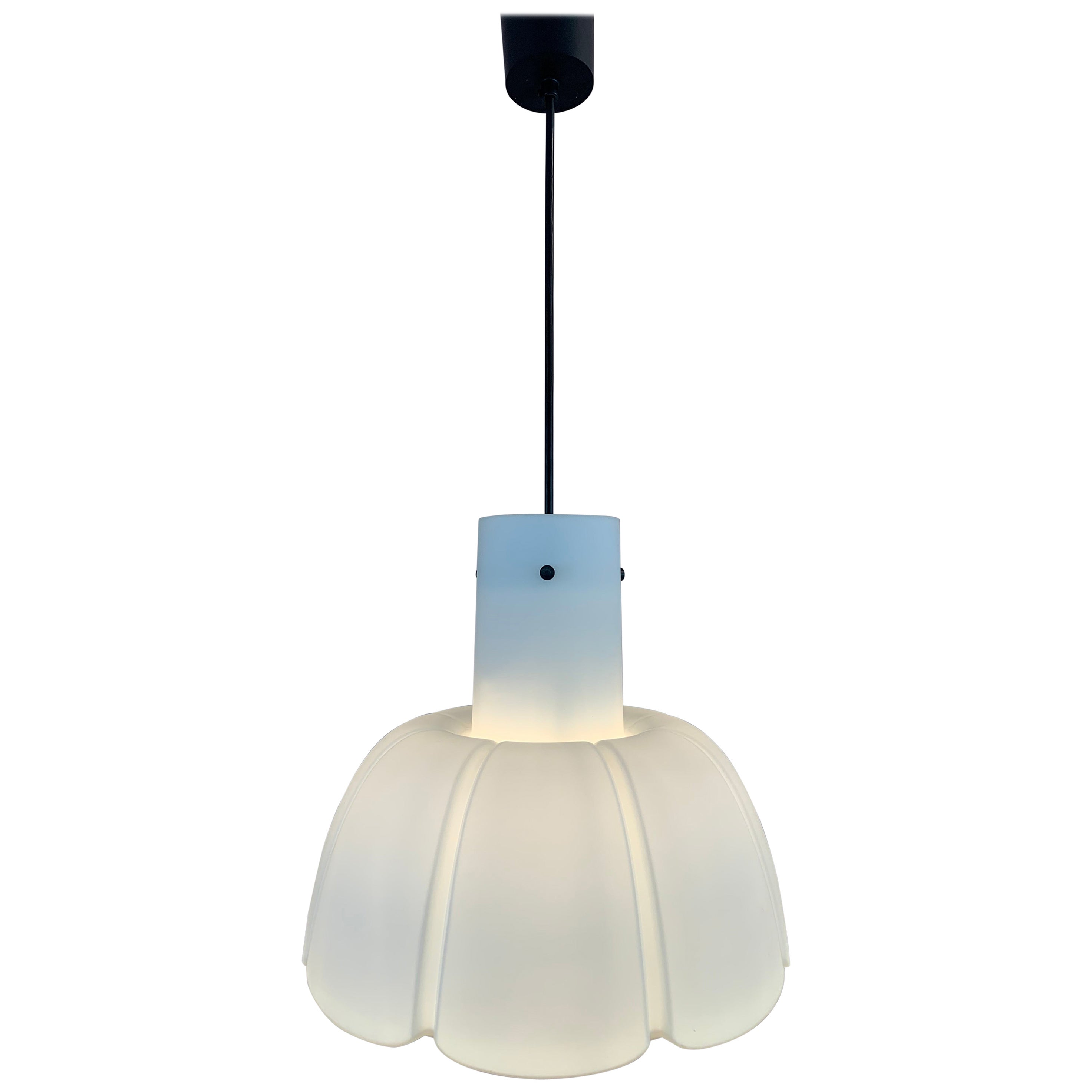 "1970s German Limburg Opalescent ""Flower"" Hanging Pendant Ceiling Light"