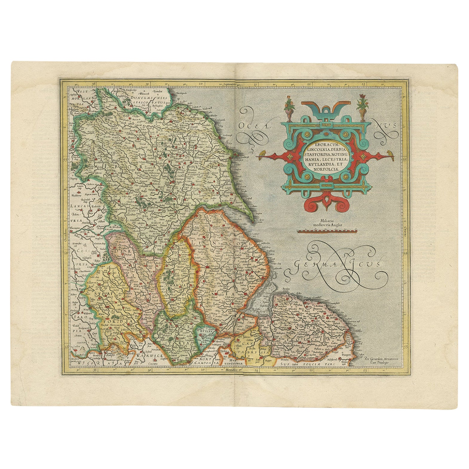 Antique Map of the Northeast of England by Mercator 'circa 1620'
