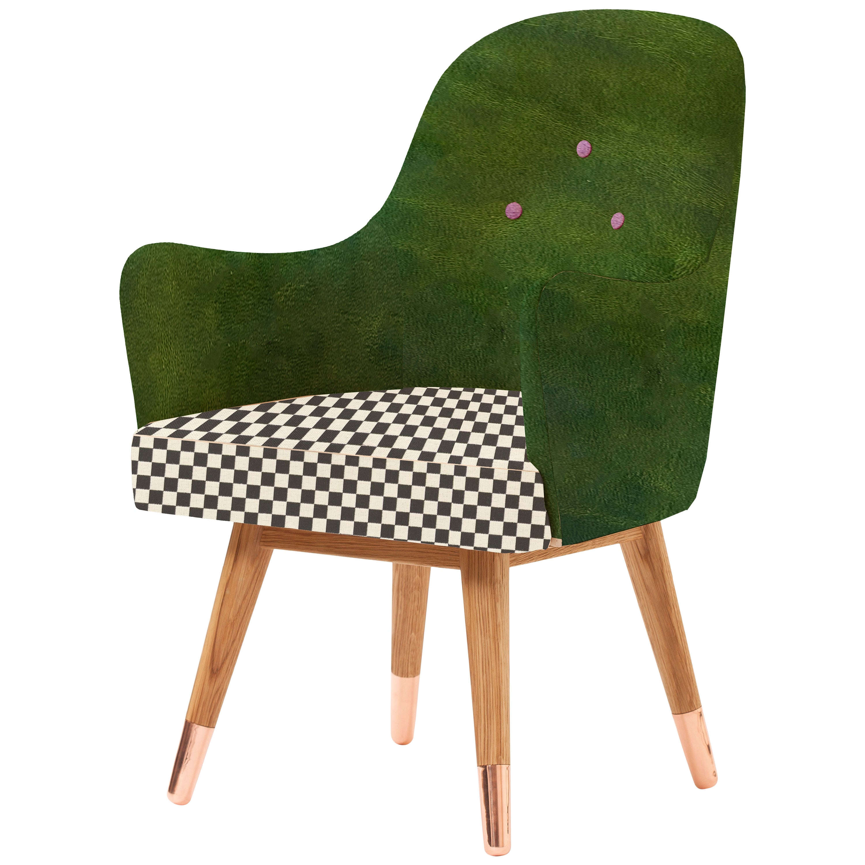 Contemporary Dandy Chair with Green Leather, Checker Upholstery and Copper