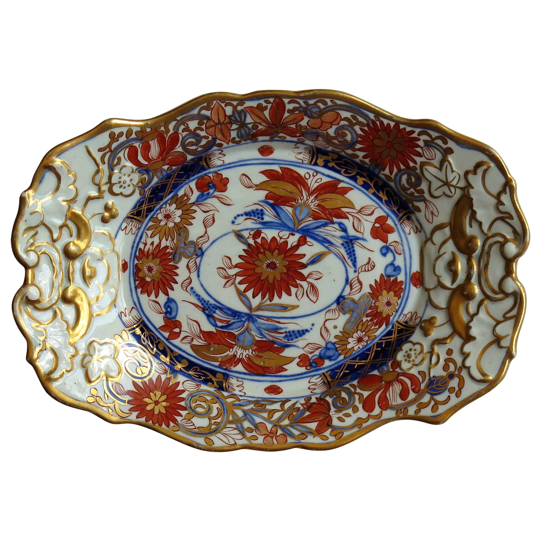 Georgian Mason's Ironstone Sweetmeat Dish in Stylized Chrysanthemum Pattern