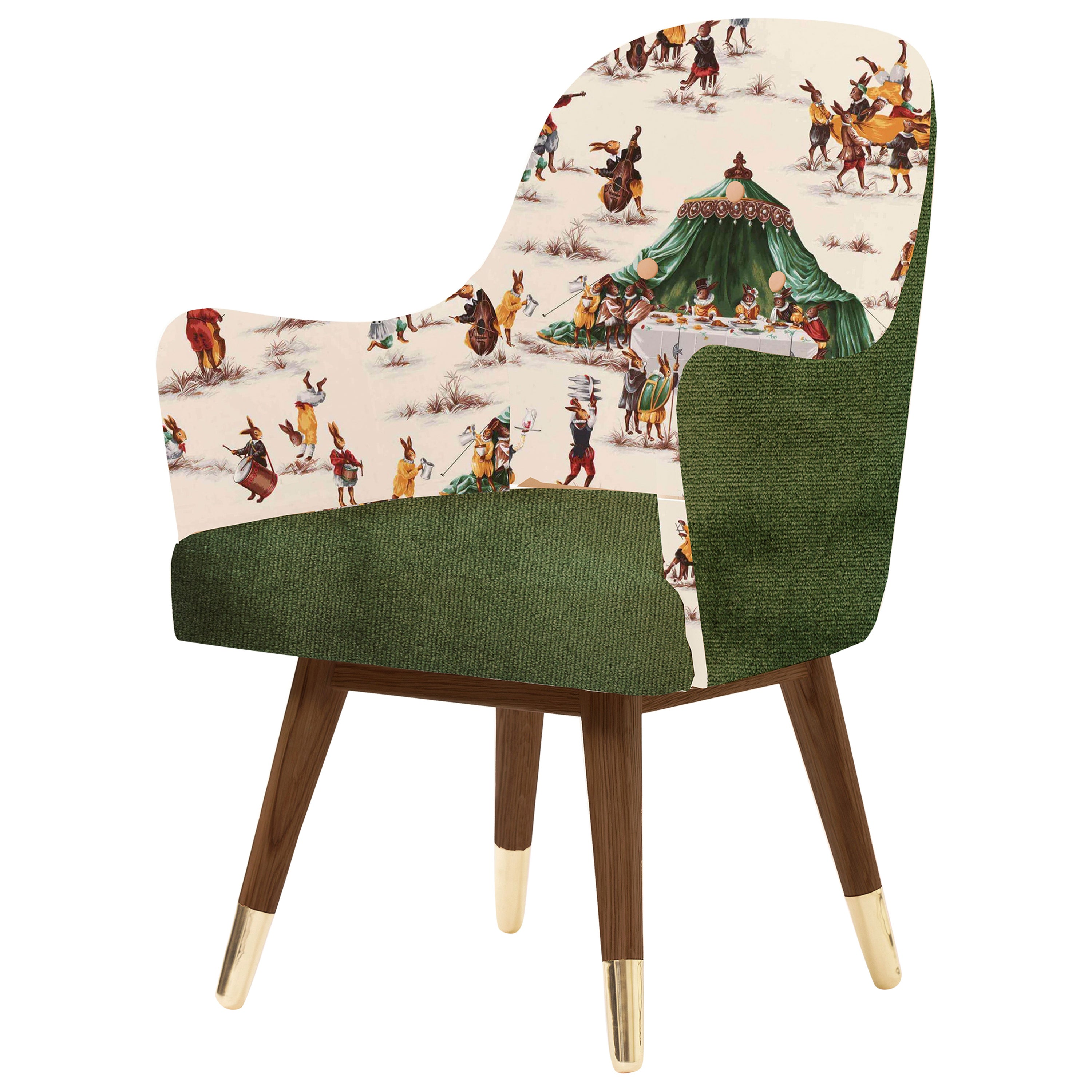 Contemporary Dandy Chair with Green Velvet, Walnut and Brass