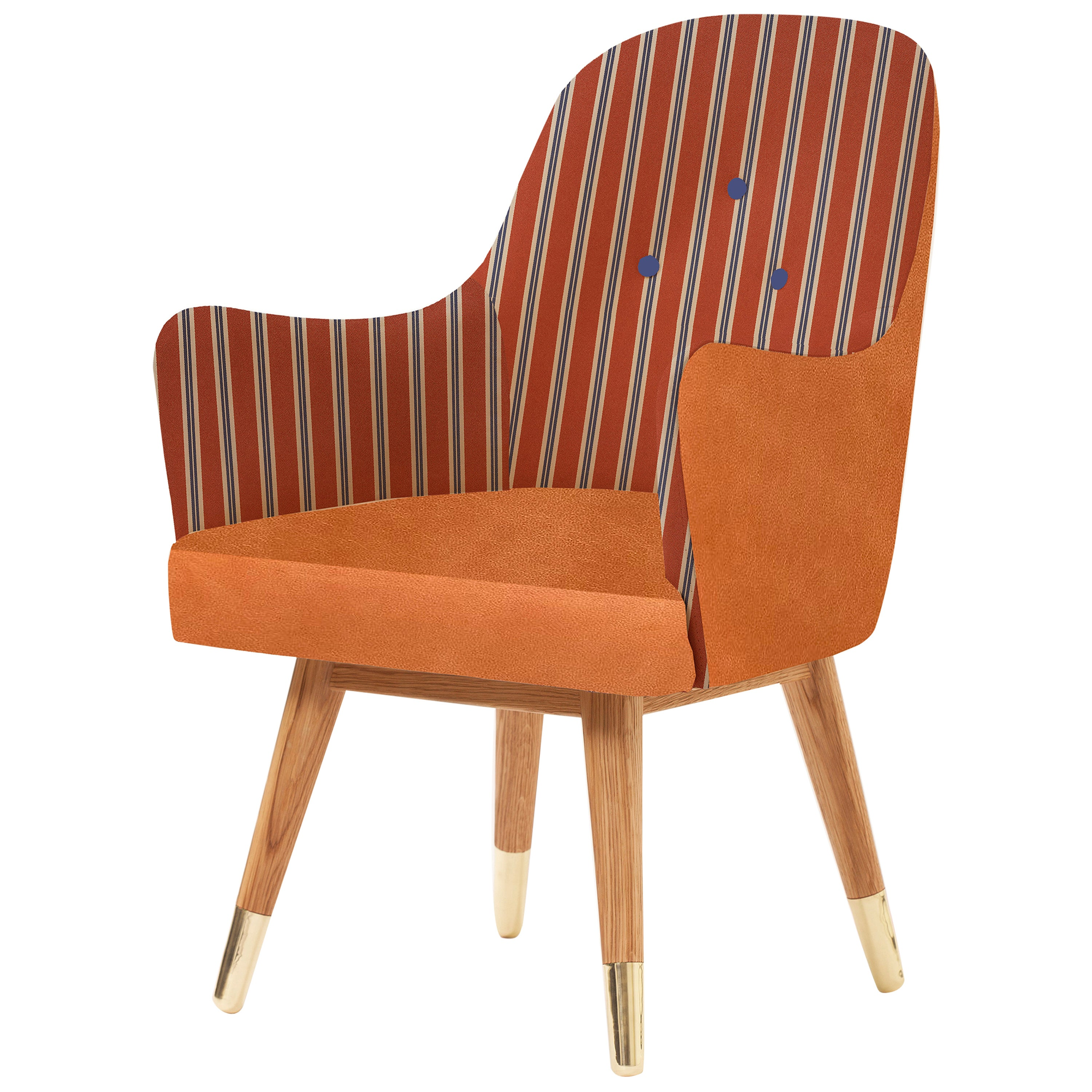 Contemporary Dandy Chair with Leather, Striped Upholstery, Oak and Brass