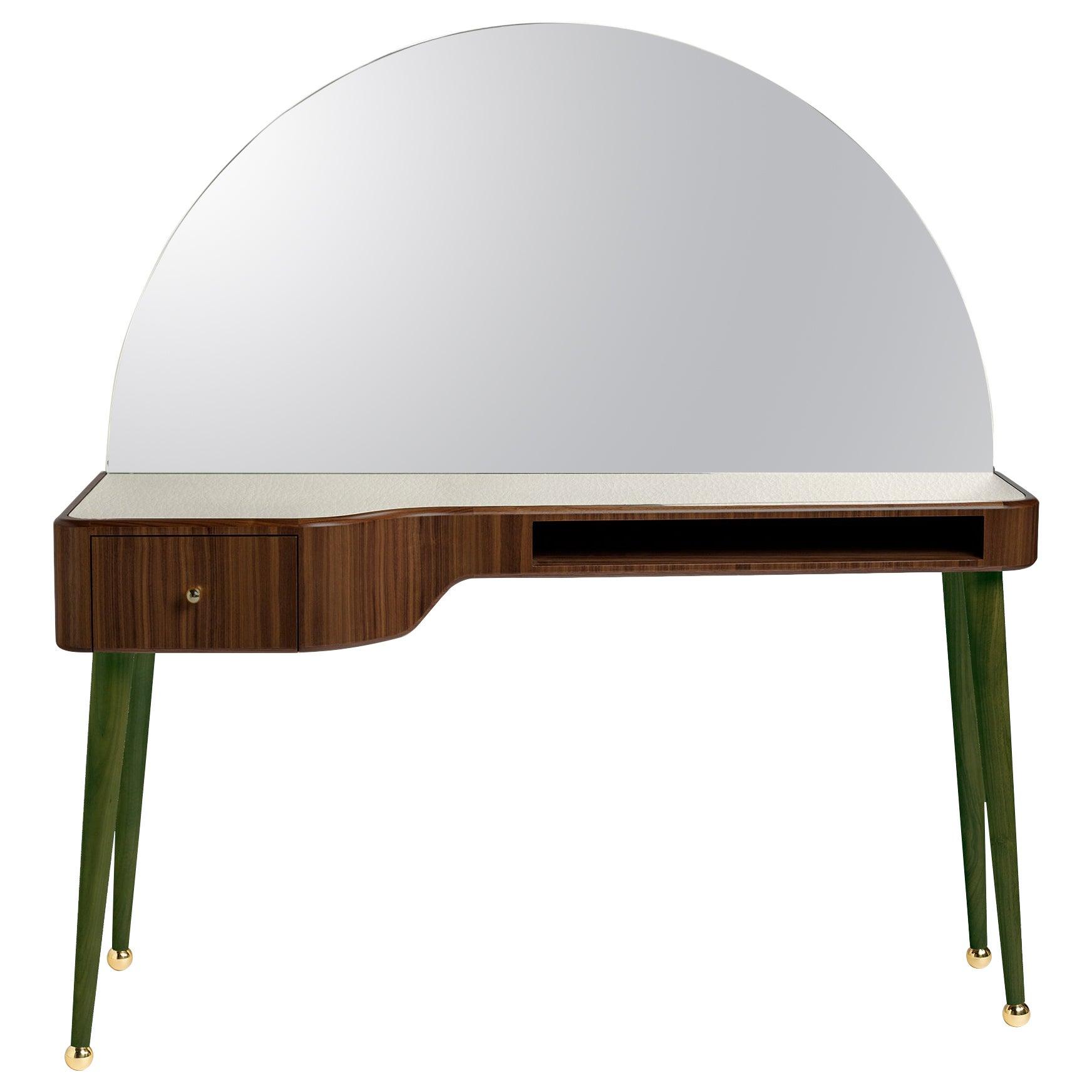 21st Century American Walnut Veneer Vanity Desk with Mirror, Green