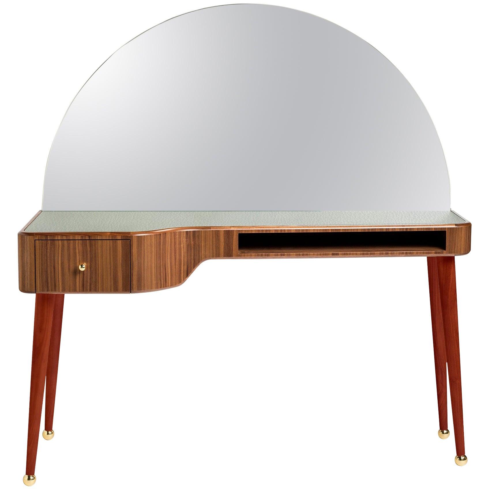 21st Century American Walnut Veneer Vanity Desk with Mirror, Red & Gray