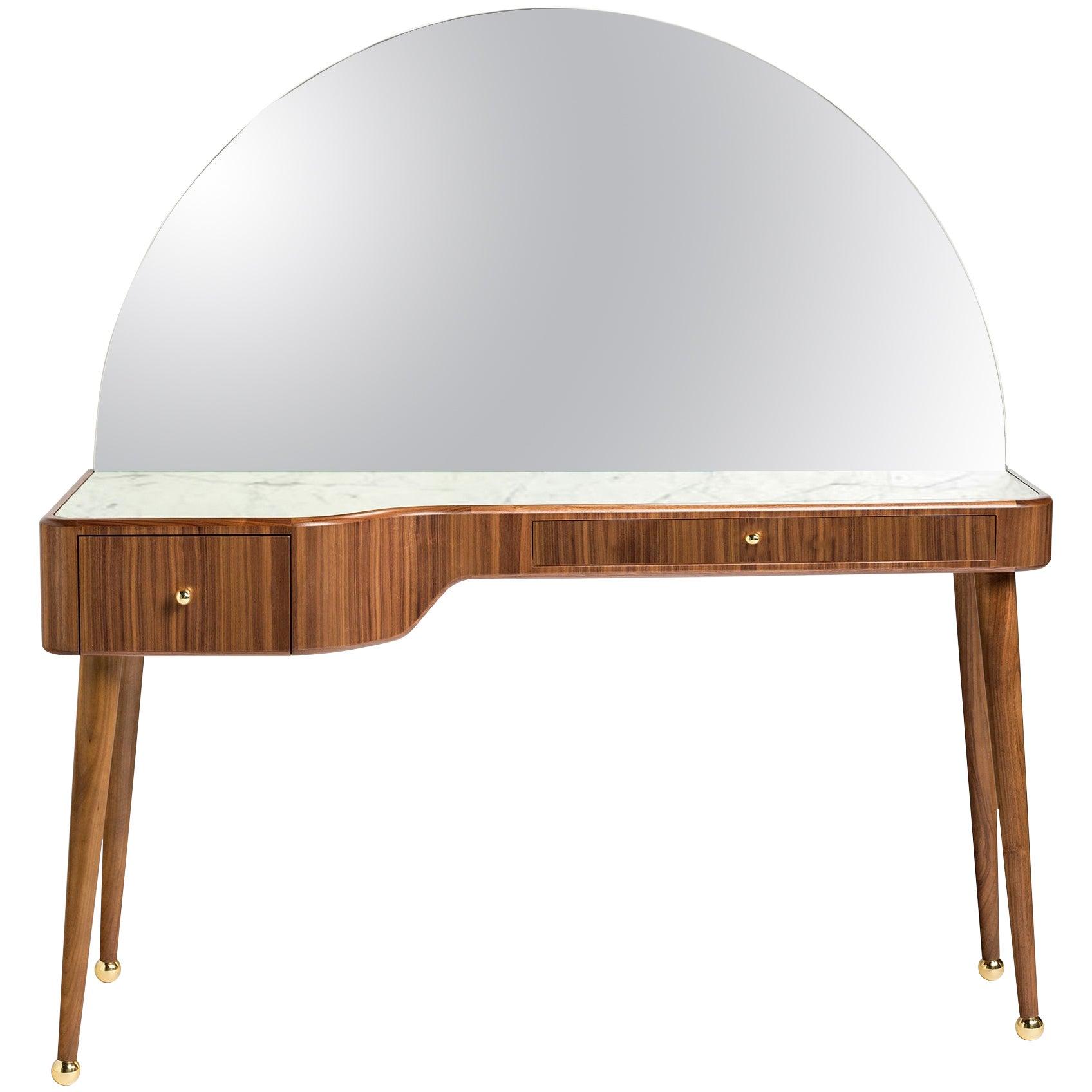 21st Century American Walnut Veneer Vanity Desk with Mirror and Carrara Marble
