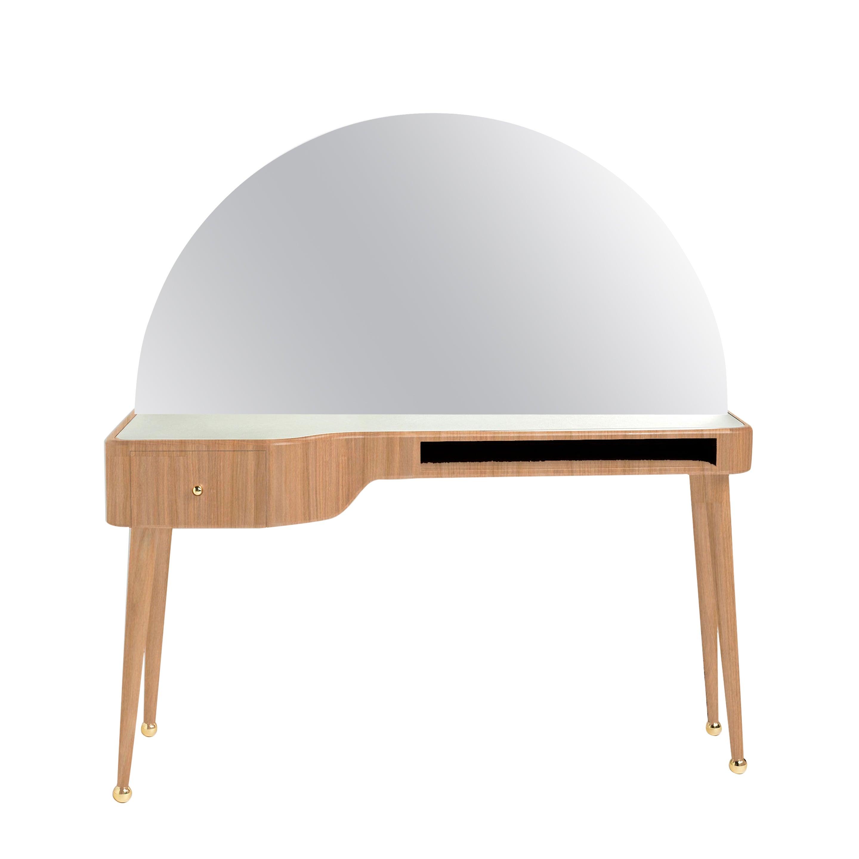21st Century American White Oak Veneer Vanity Desk with Mirror