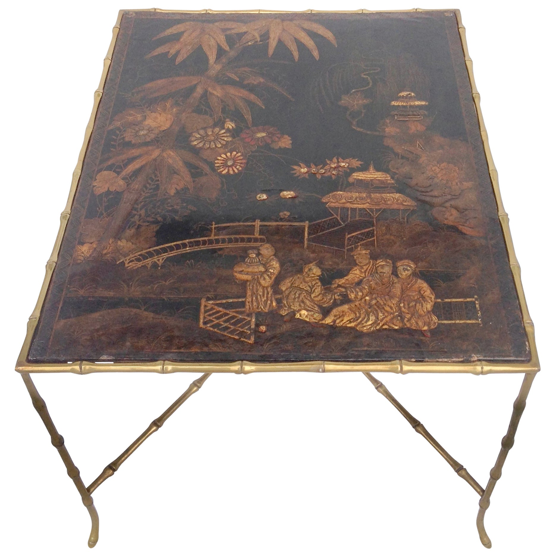 Baguès Chinoiserie and Gilt Faux Bamboo Coffee Table
