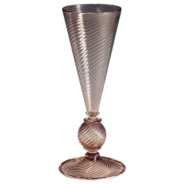 Vetro Soffiato Glass Vase, Venini Murano, circa 1950